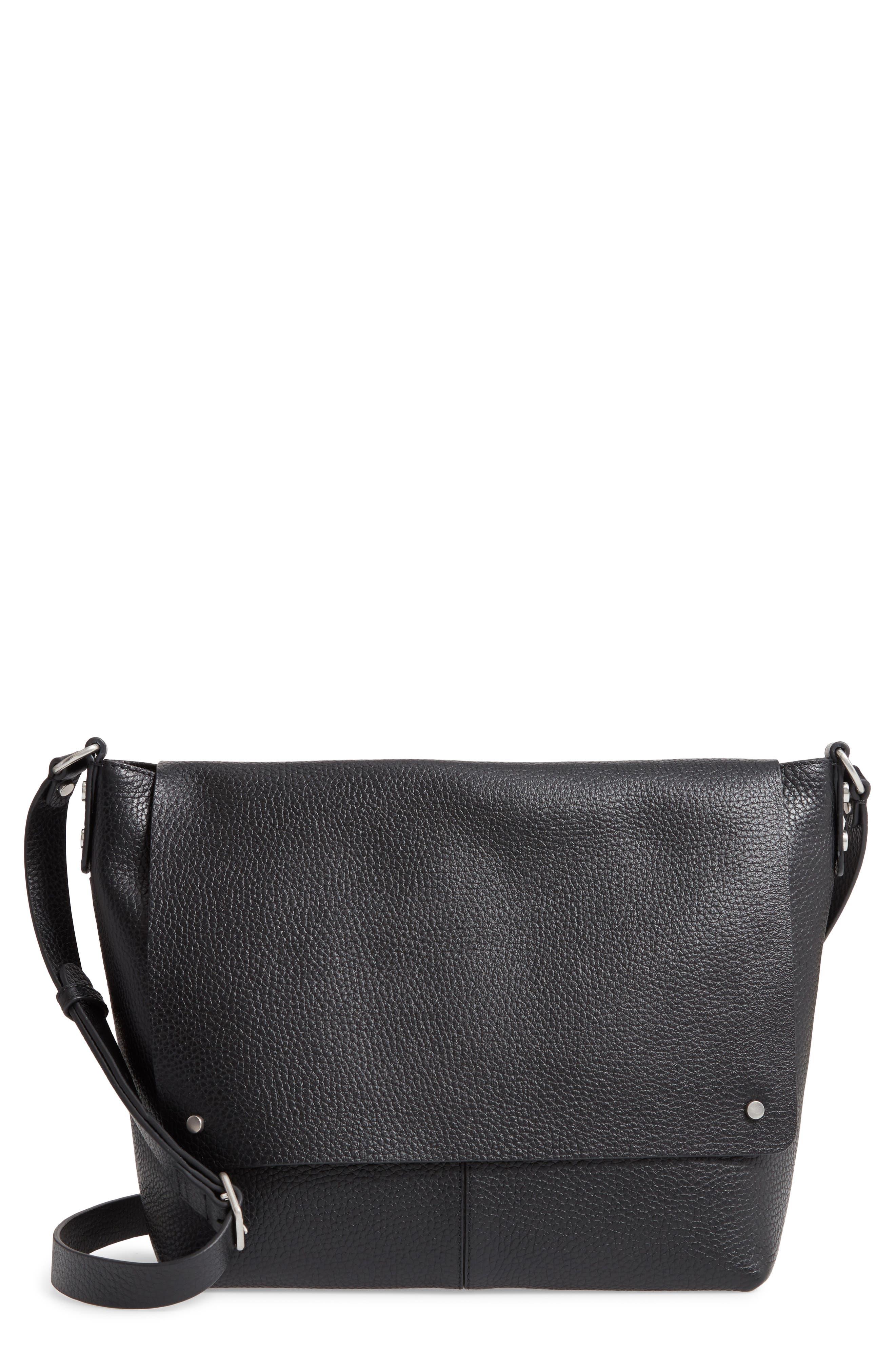 Nevyn Leather Messenger Bag,                             Main thumbnail 1, color,                             BLACK