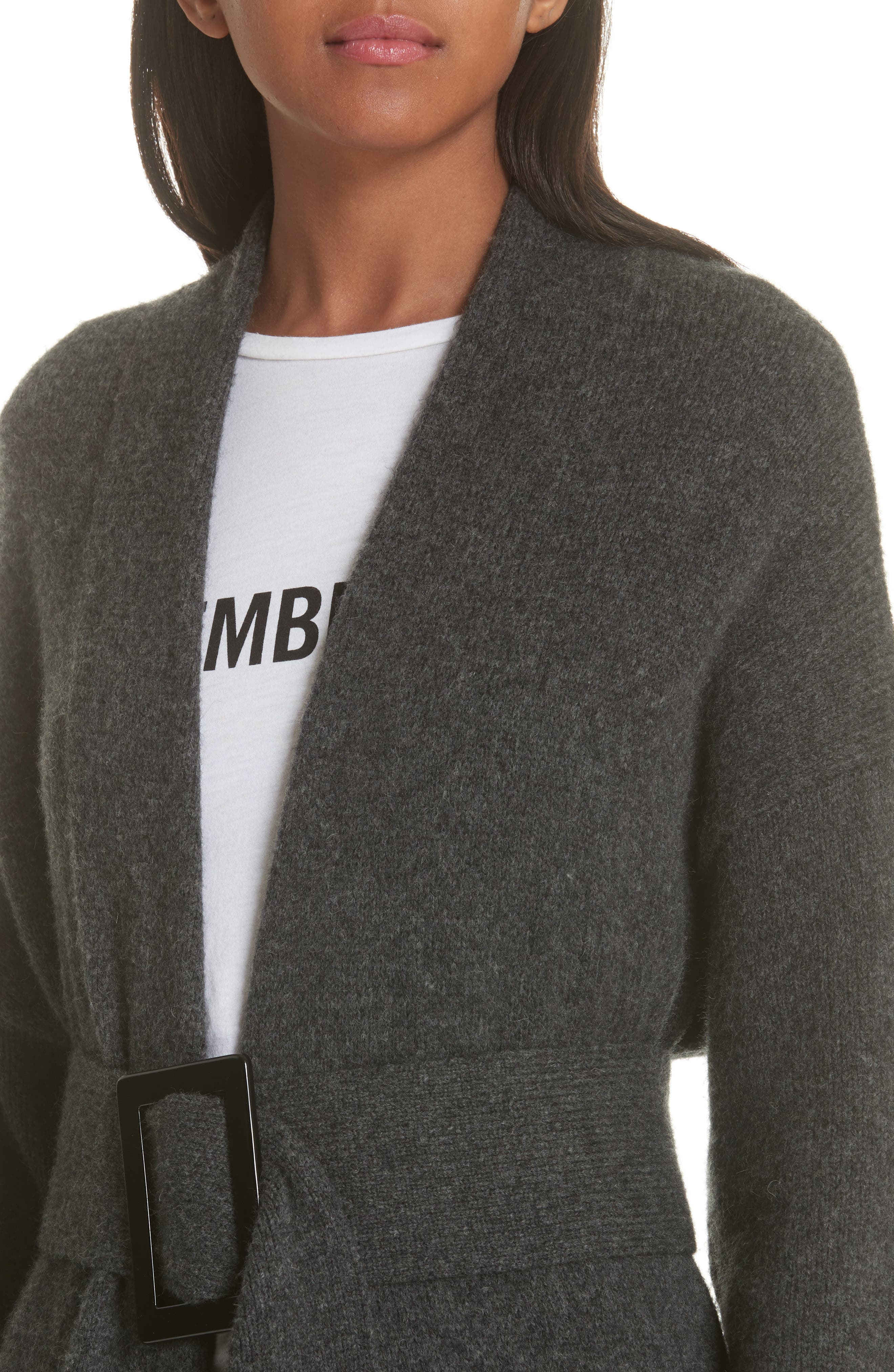 Allana Belted Merino Wool & Camel Hair Blend Cardigan,                             Alternate thumbnail 4, color,                             CHARCOAL