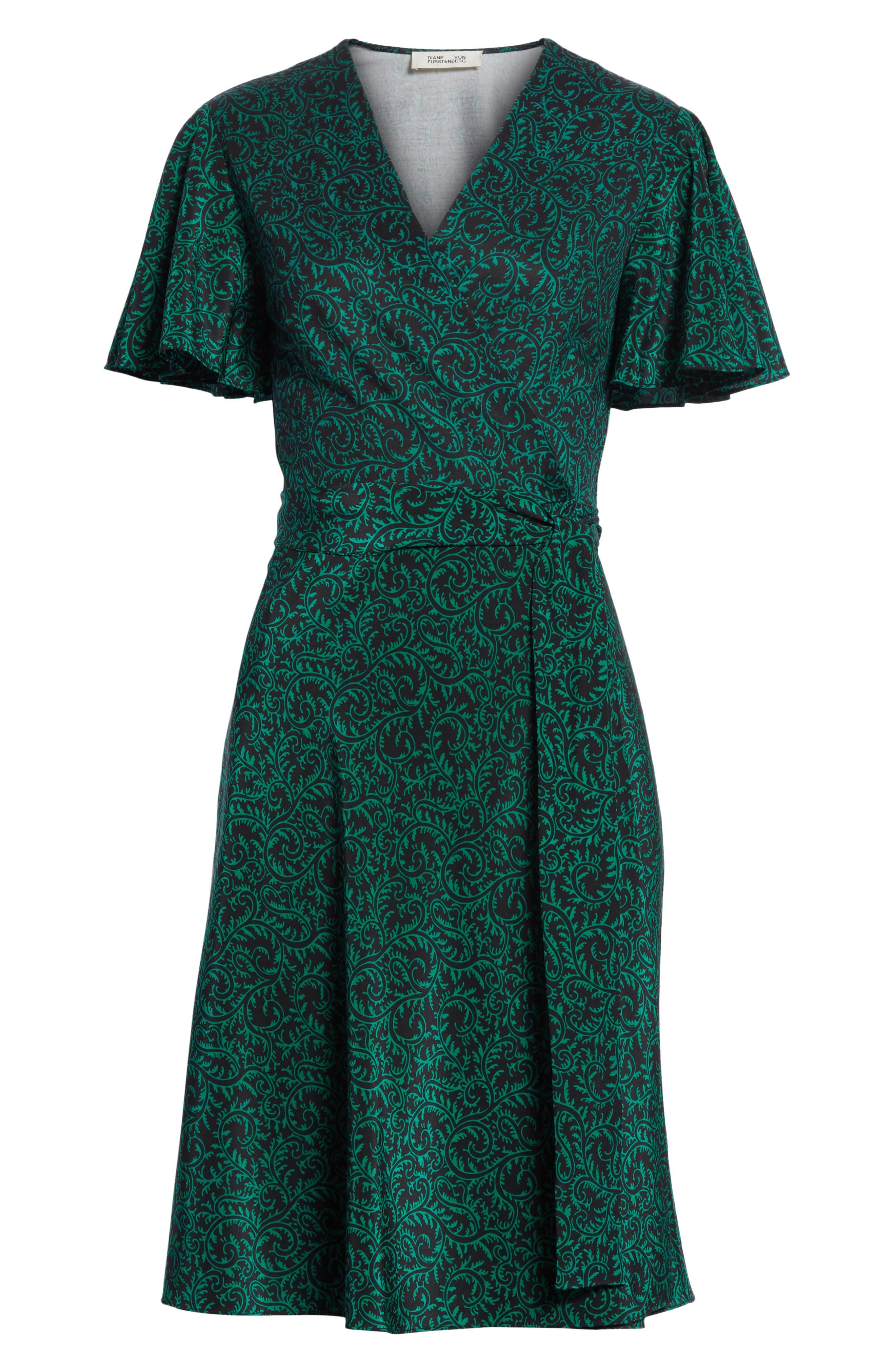 Diane von Furstenberg Flutter Sleeve Silk Wrap Dress,                             Alternate thumbnail 23, color,