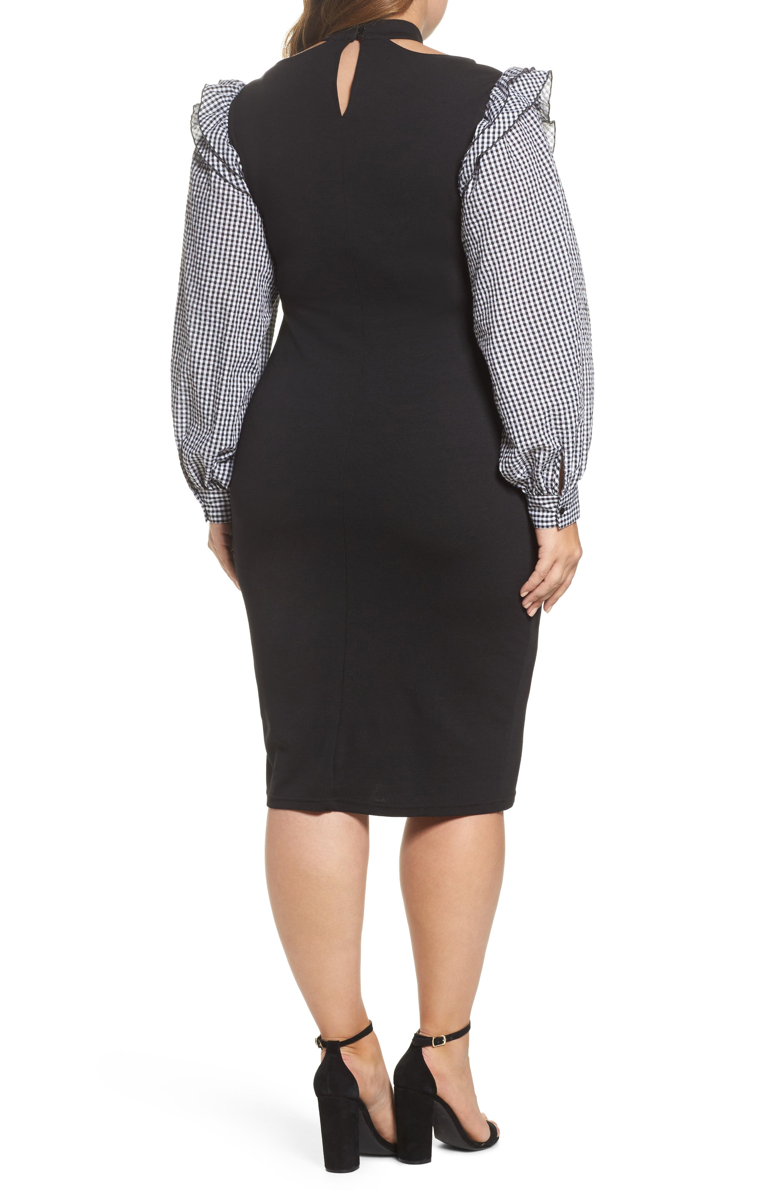 Gingham Sleeve Body-Con Dress,                             Alternate thumbnail 2, color,                             001