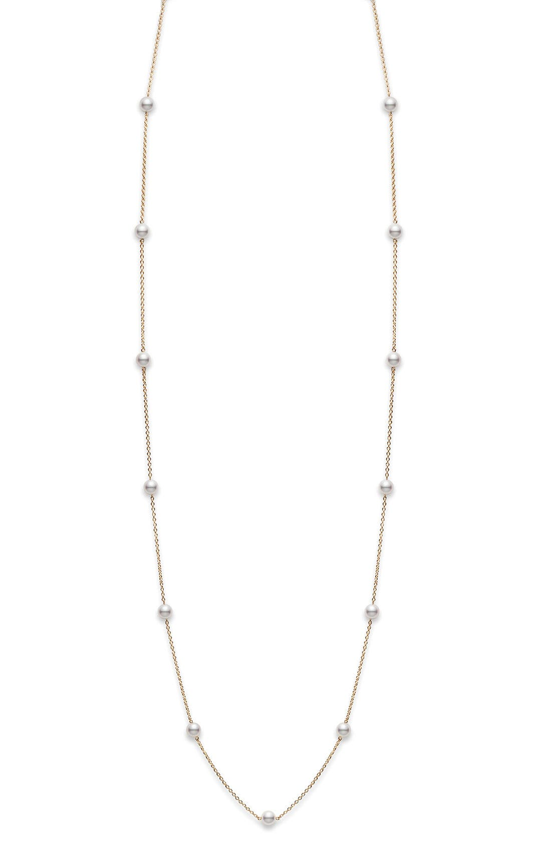 Akoya Pearl Station Necklace,                             Alternate thumbnail 2, color,                             WHITE GOLD