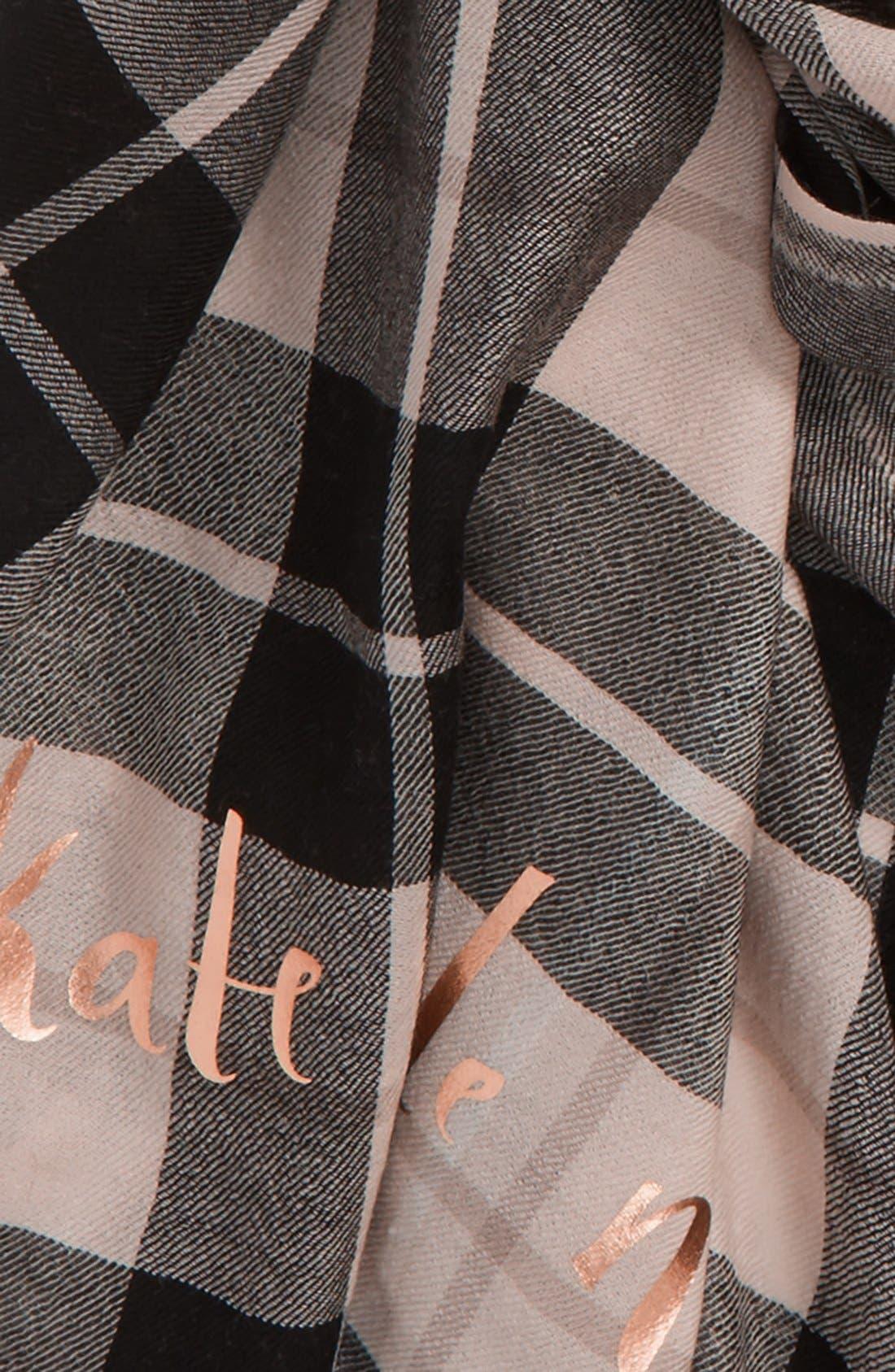 'woodland plaid' wool scarf,                             Alternate thumbnail 3, color,                             250