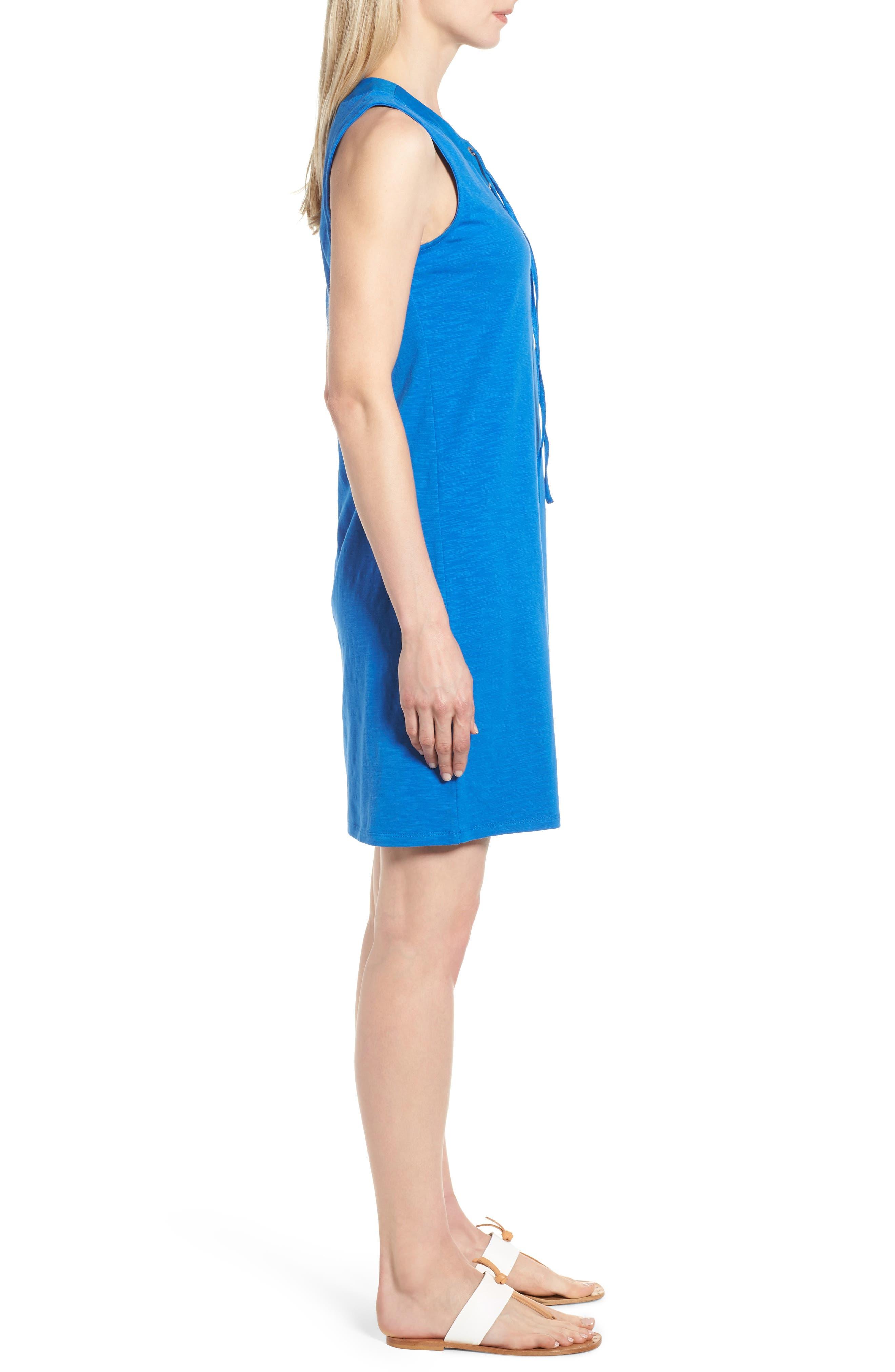 Lace-Up Shift Dress,                             Alternate thumbnail 3, color,                             COBALT SEA