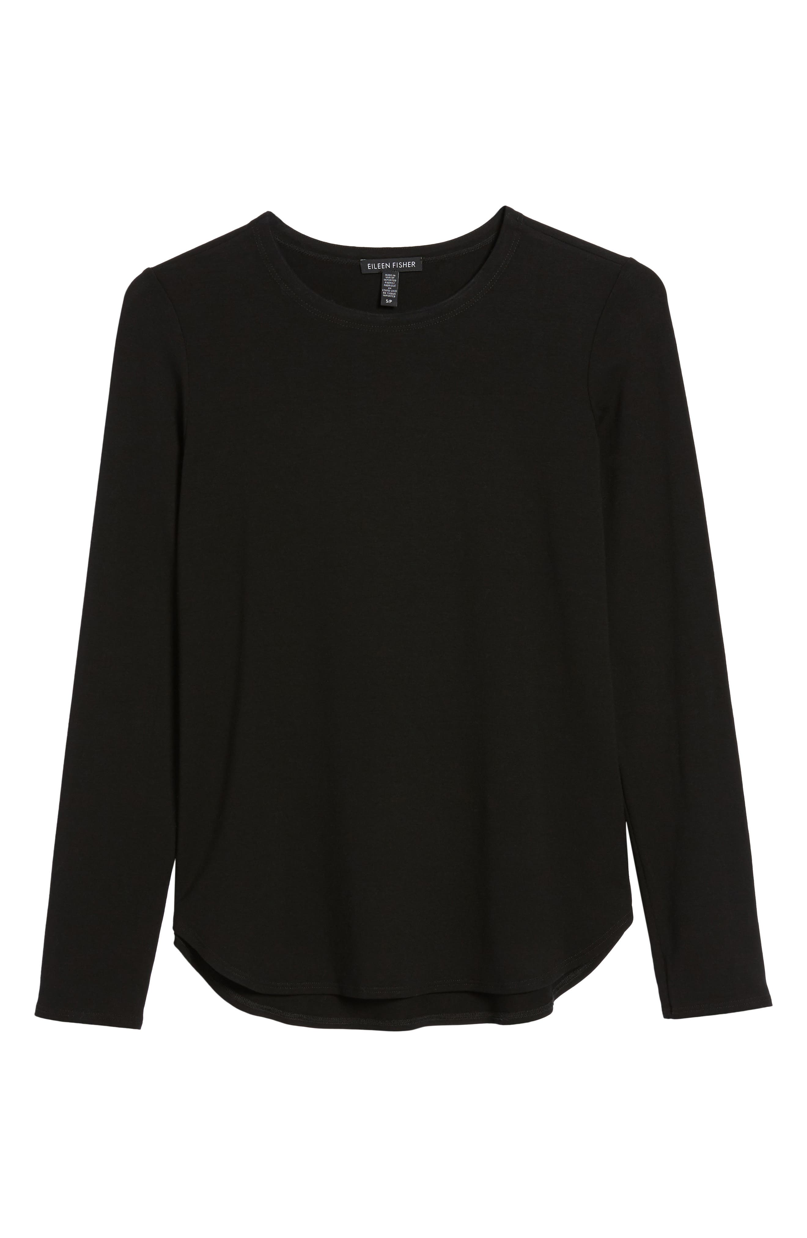 Crewneck Top,                             Alternate thumbnail 7, color,                             BLACK