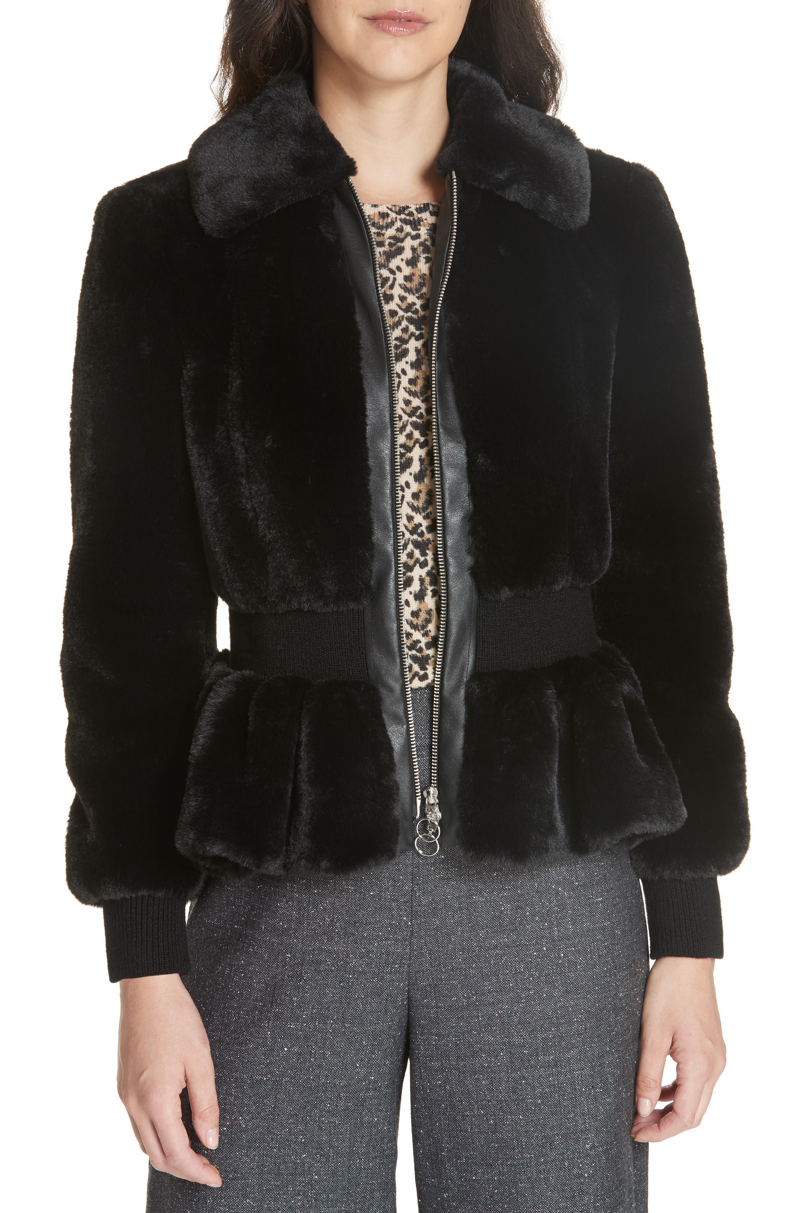 REBECCA TAYLOR Zip-Front Faux-Fur Peplum Jacket in Black