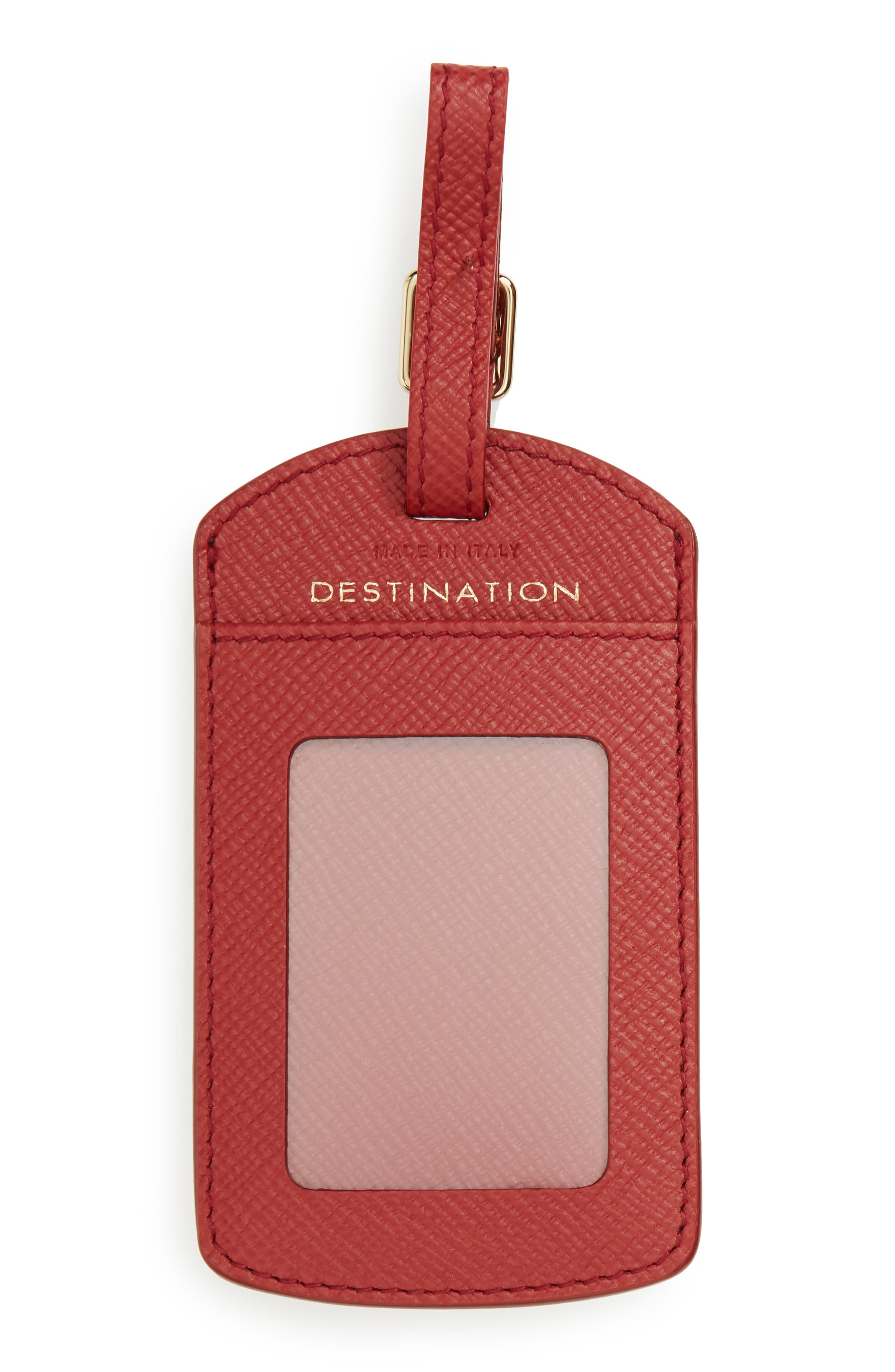 Panama Home/Destination Calfskin Leather Luggage Label,                             Alternate thumbnail 4, color,