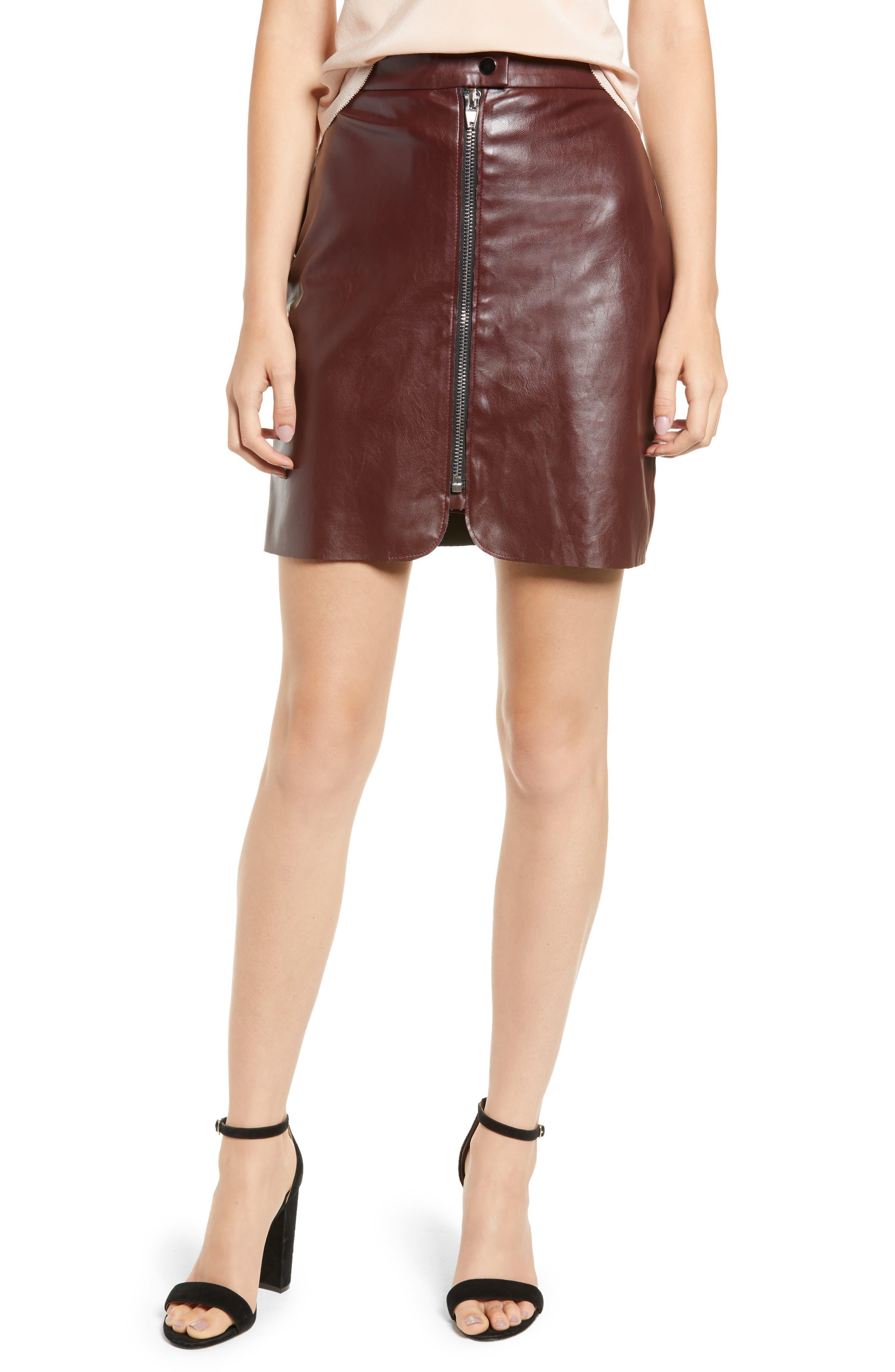 Bishop + Young Exposed Zip Miniskirt,                             Main thumbnail 1, color,                             BURGUNDY