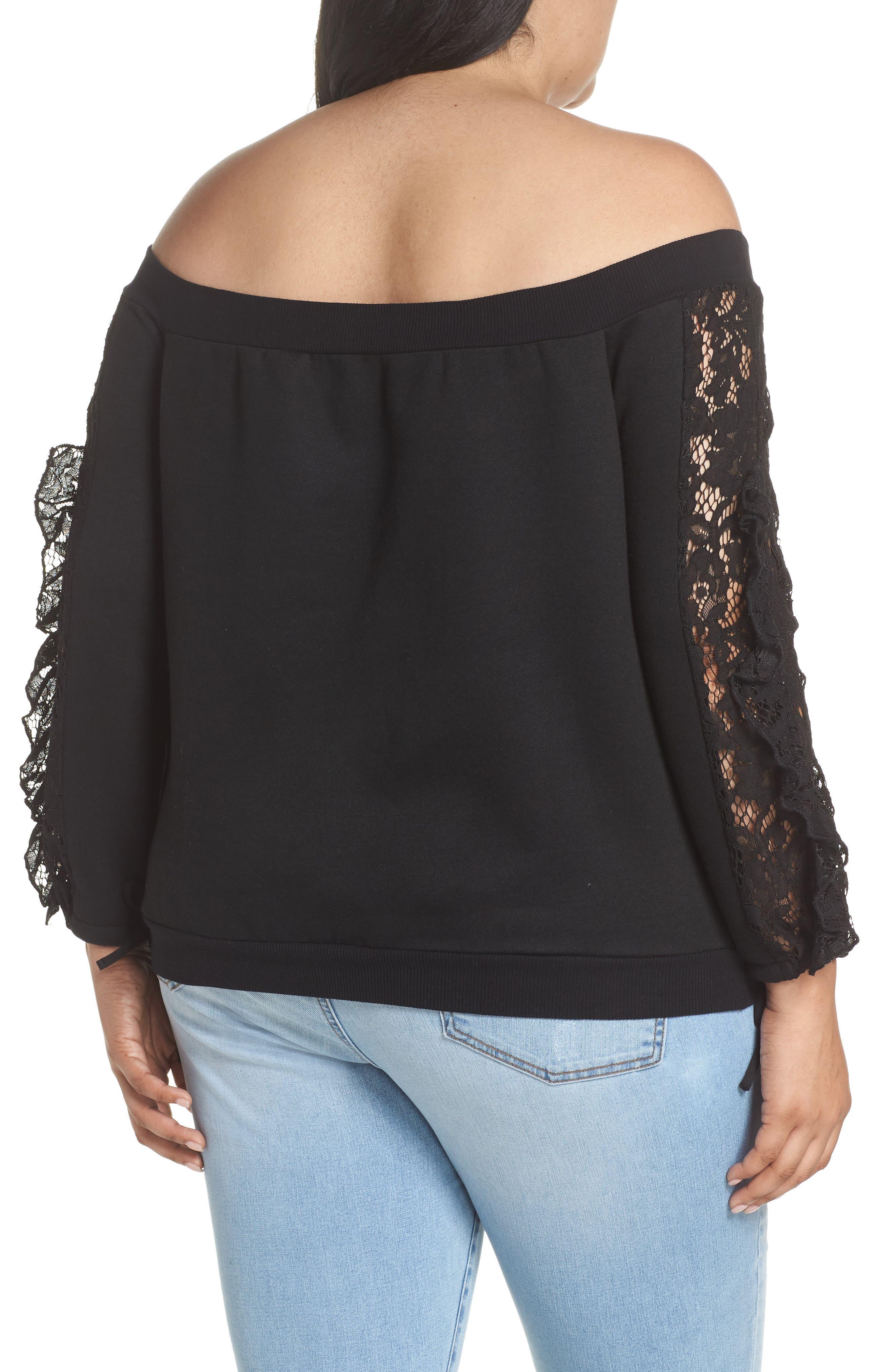 Lace Ruffle Sleeve Off the Shoulder Sweatshirt,                             Alternate thumbnail 2, color,