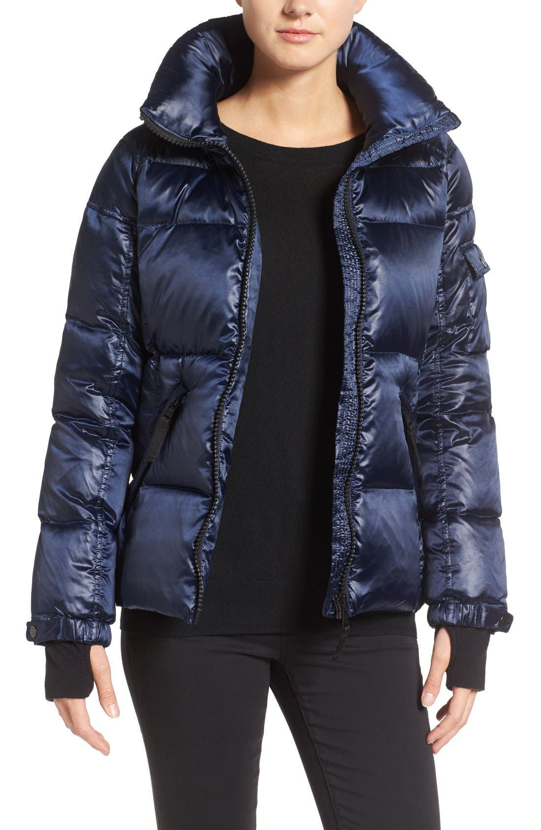 Kylie Metallic Quilted Jacket with Removable Hood,                         Main,                         color, MIDNIGHT