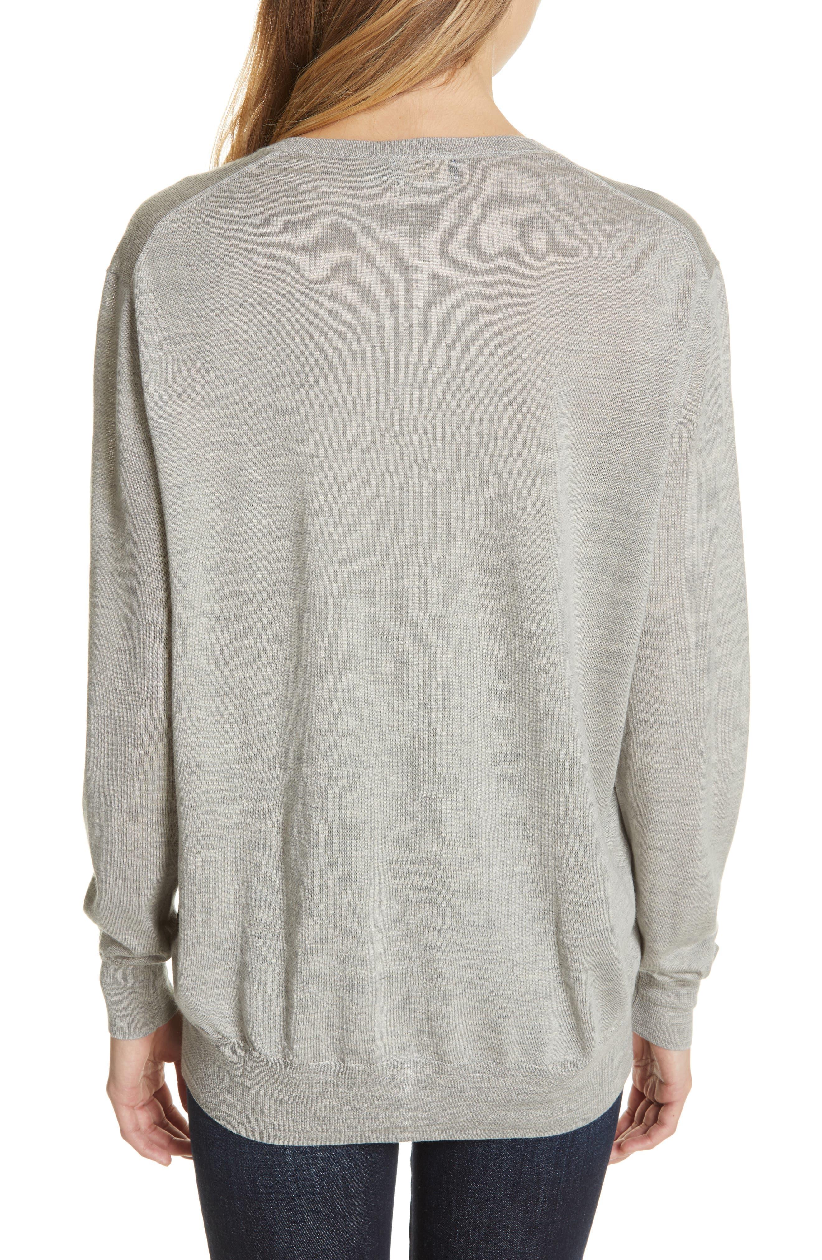 POLO RALPH LAUREN,                             V-Neck Wool, Silk & Cashmere Sweater,                             Alternate thumbnail 2, color,                             LIGHT VINTAGE HEATHER