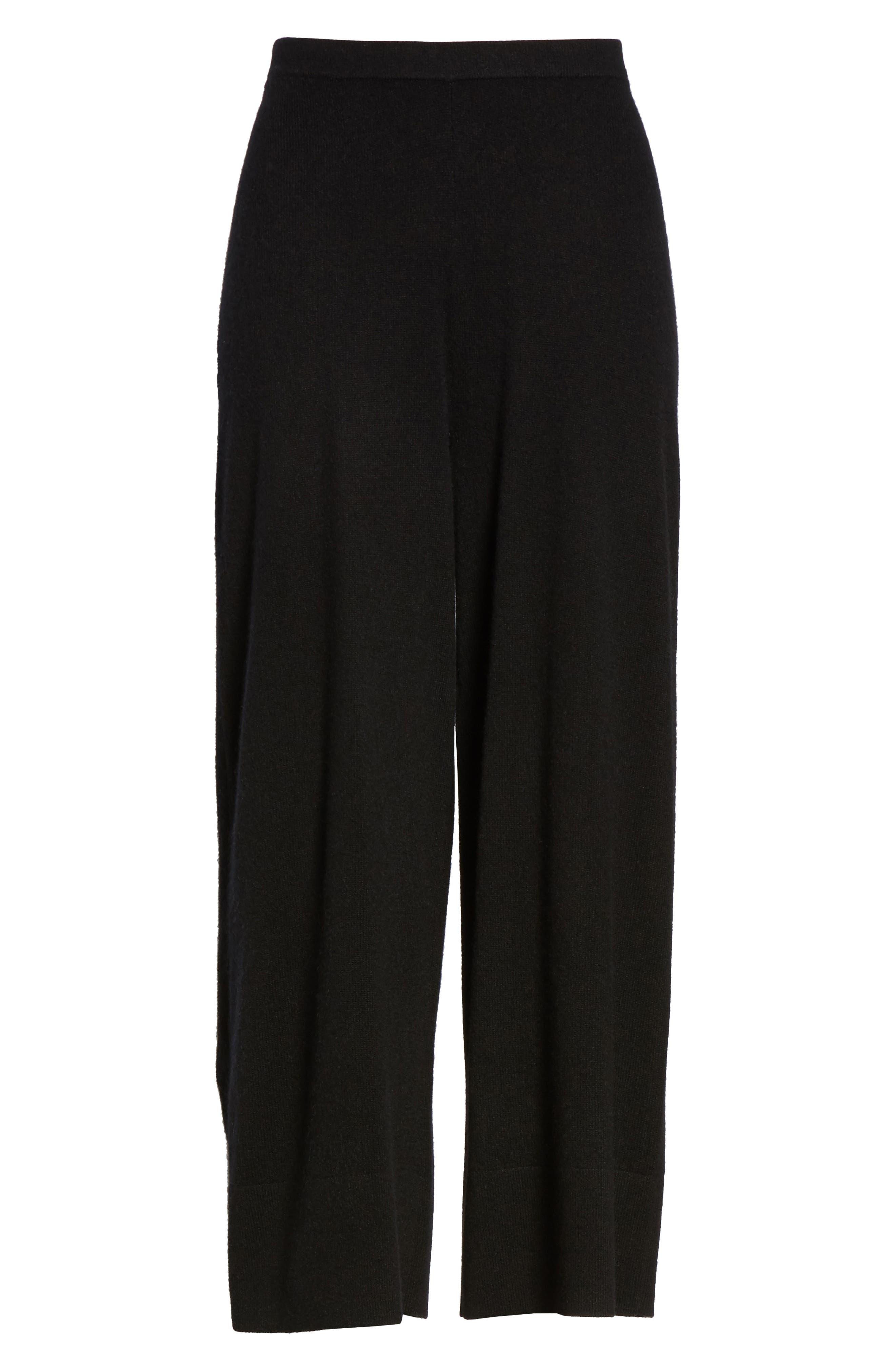 Knit Cashmere Ankle Pants,                             Alternate thumbnail 6, color,                             001