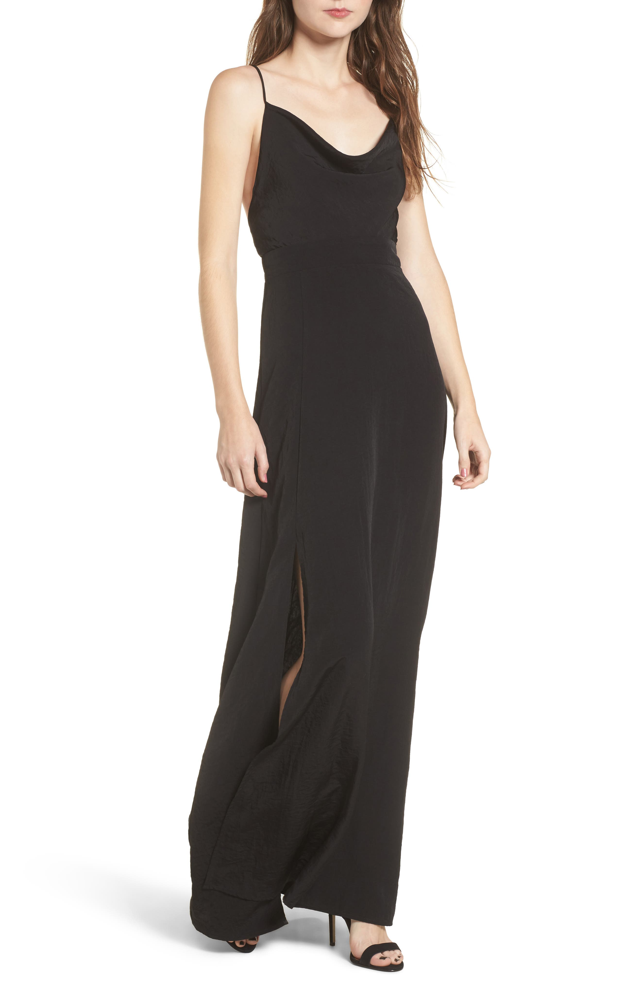 Cowl Neck Maxi Dress,                             Main thumbnail 1, color,                             001