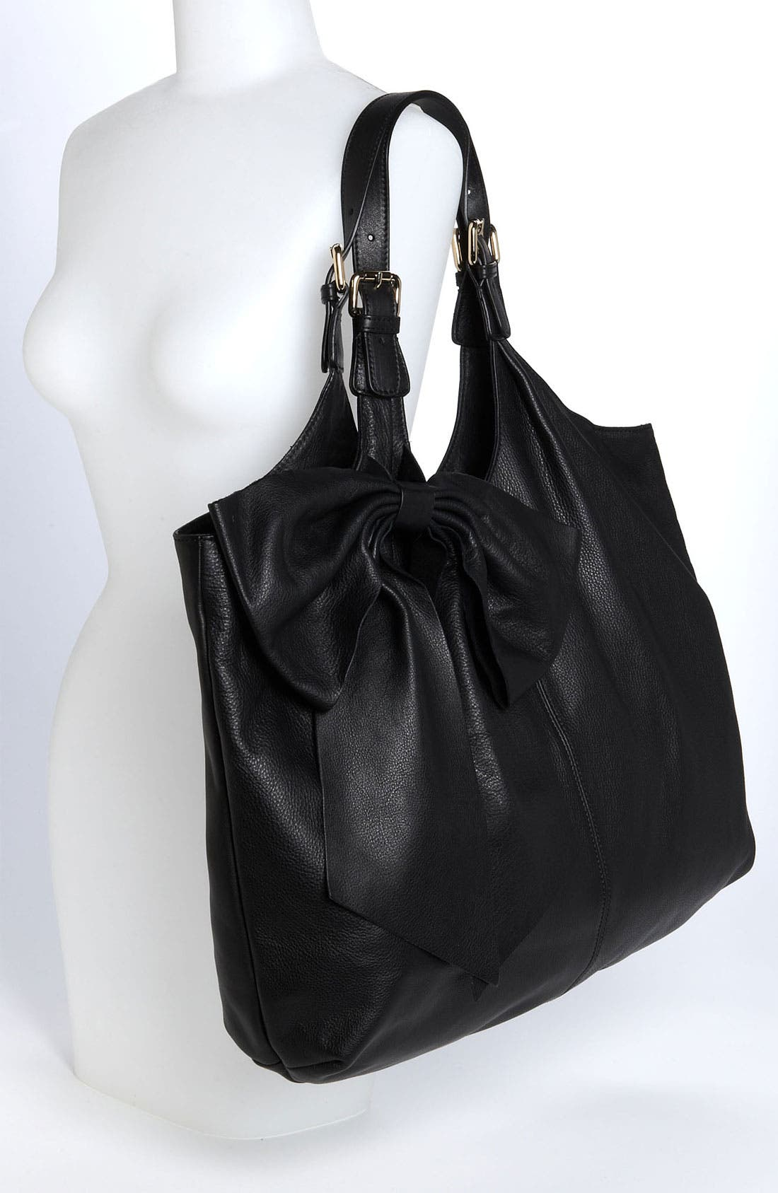 'Bow' Leather Hobo,                             Alternate thumbnail 6, color,                             002