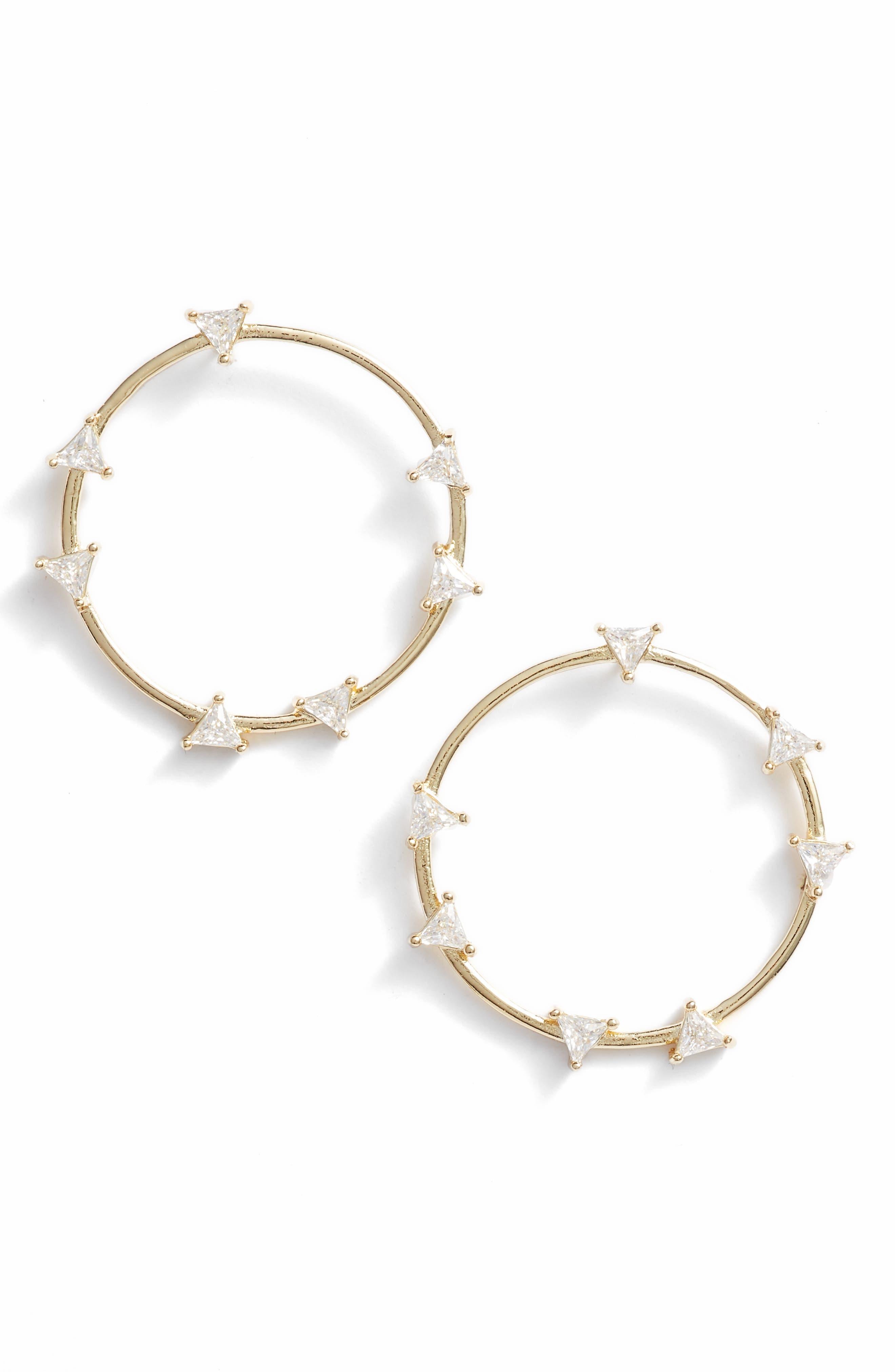 MELINDA MARIA Circle Earrings in Clear/ Gold