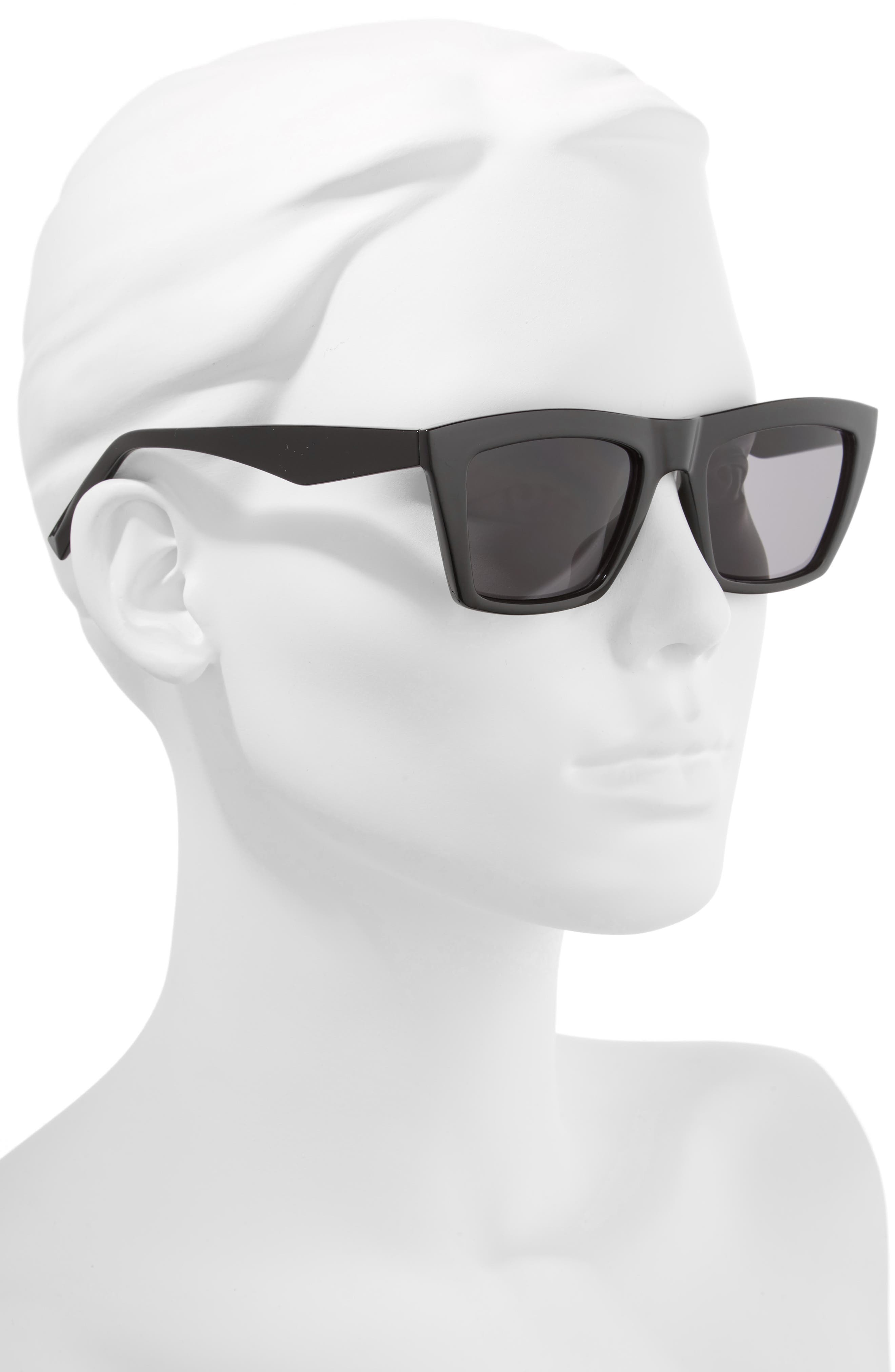 Kamilla 53mm Square Sunglasses,                             Alternate thumbnail 2, color,                             BLACK/ SOLID SMOKE
