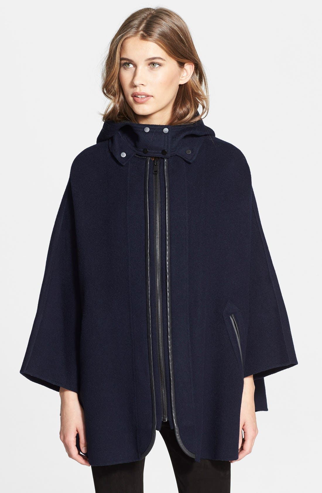 Hooded Wool Blend Cape with Leather Trim,                         Main,                         color, 470