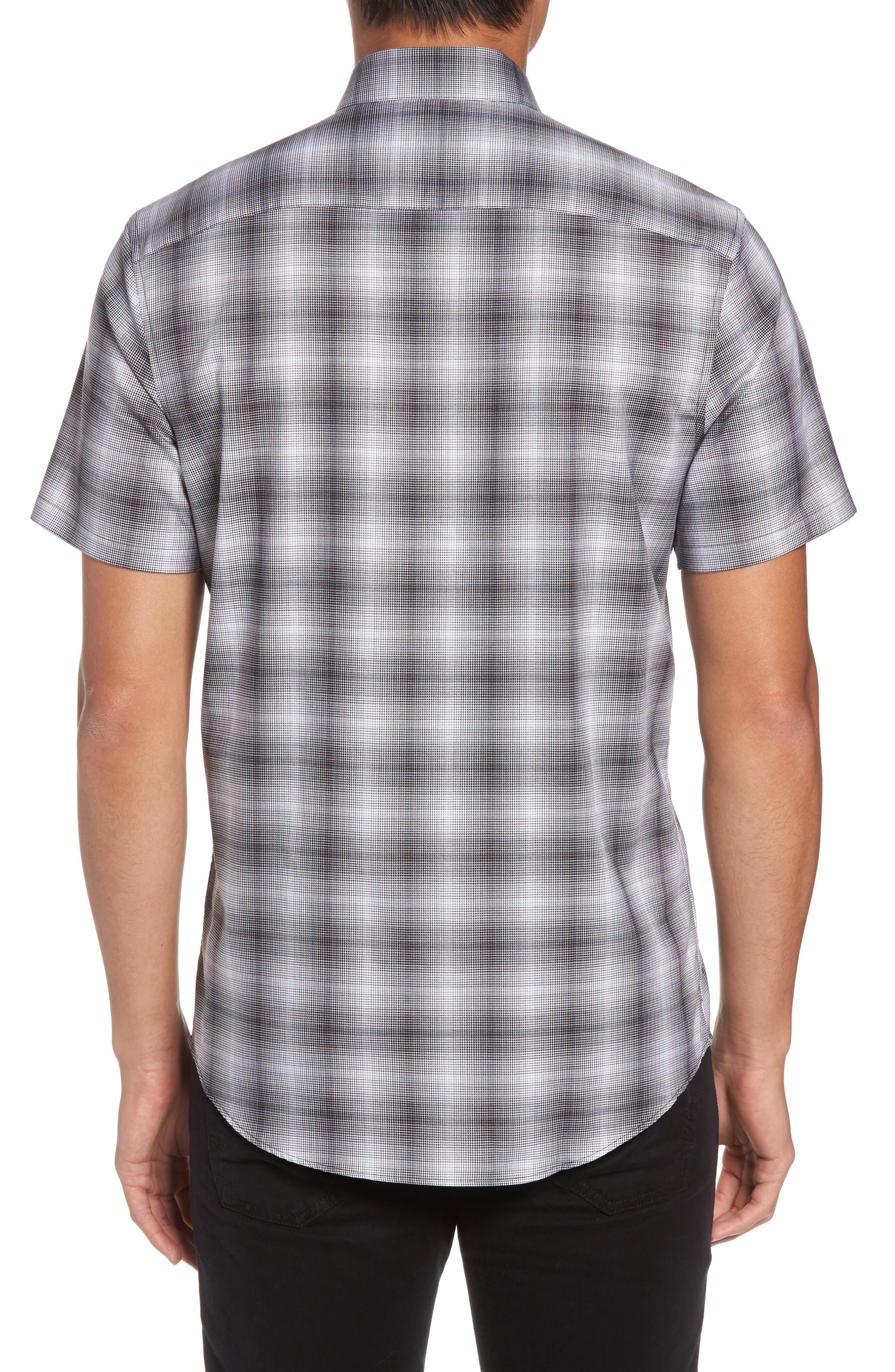 Non-Iron Moiré Plaid Woven Shirt,                             Alternate thumbnail 2, color,                             001