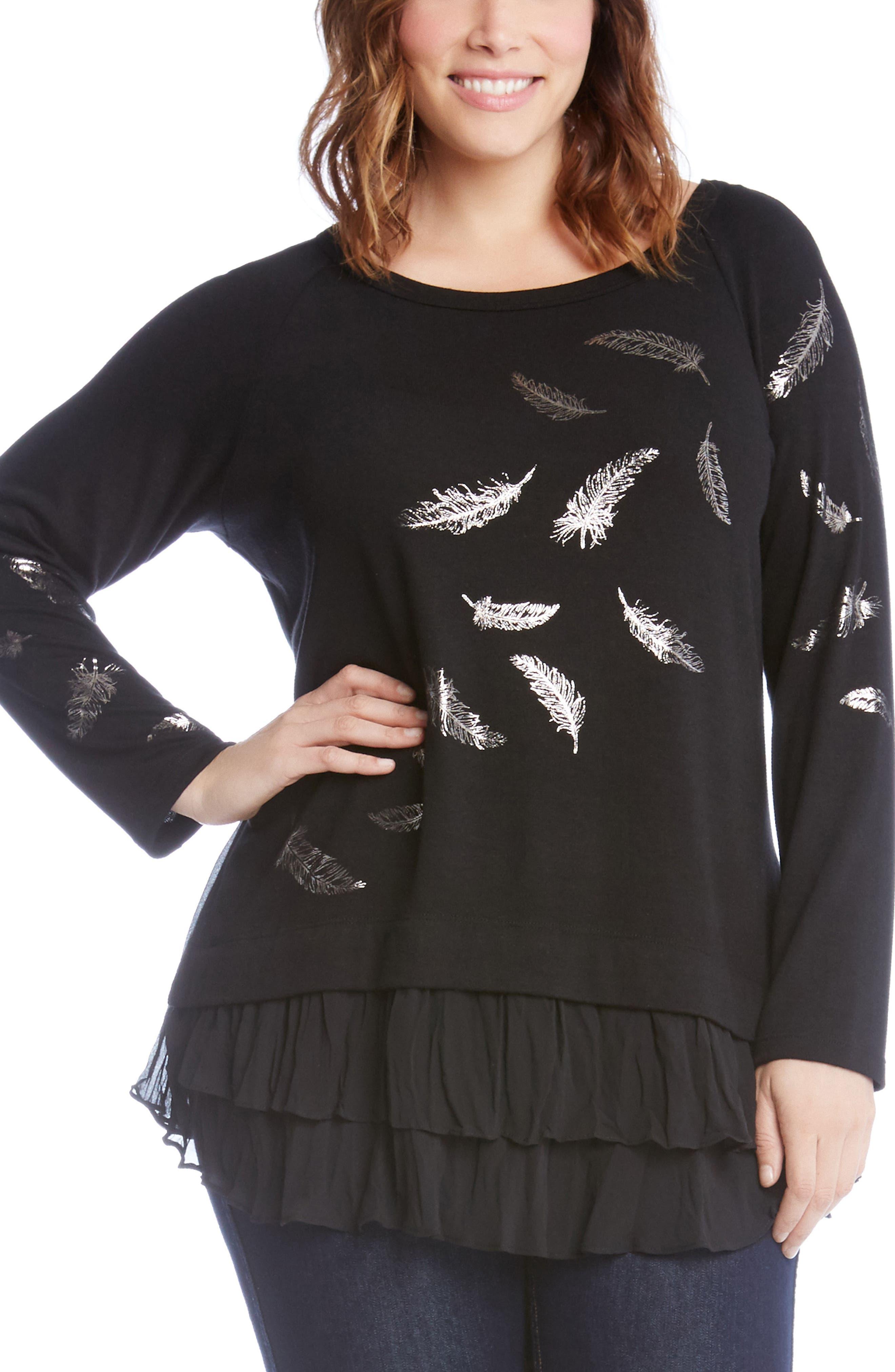 Feather Print Ruffle Hem Sweater,                         Main,                         color, 014