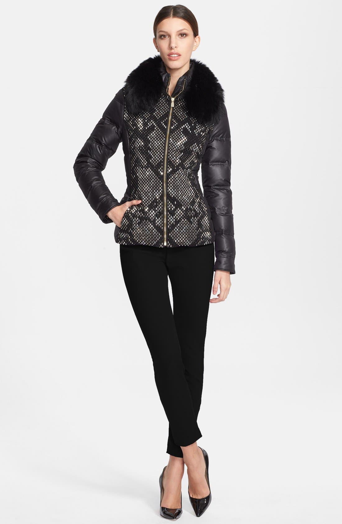 Down Puffer Jacket with Genuine Fox Fur Collar,                             Alternate thumbnail 2, color,                             001