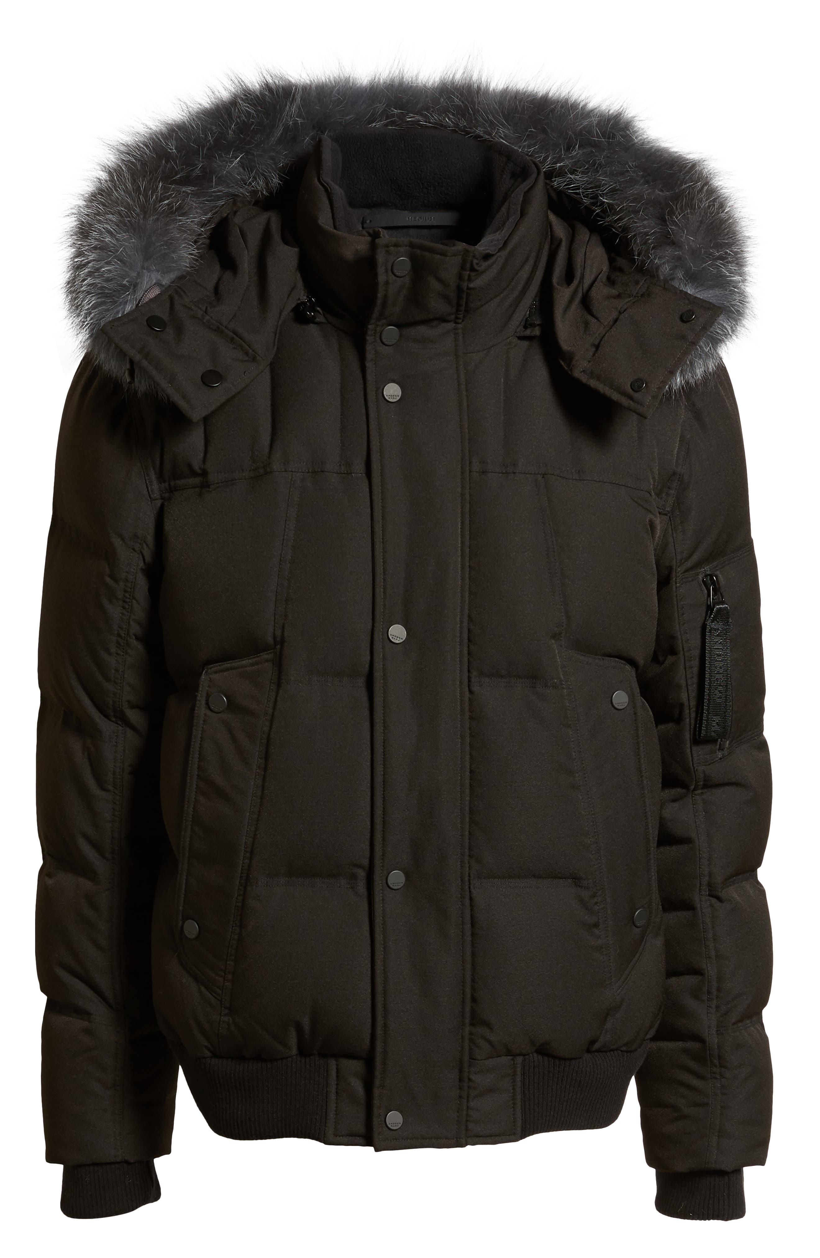 Bennett Genuine Fox Fur Trim Down Bomber Jacket,                             Alternate thumbnail 6, color,                             BLACK