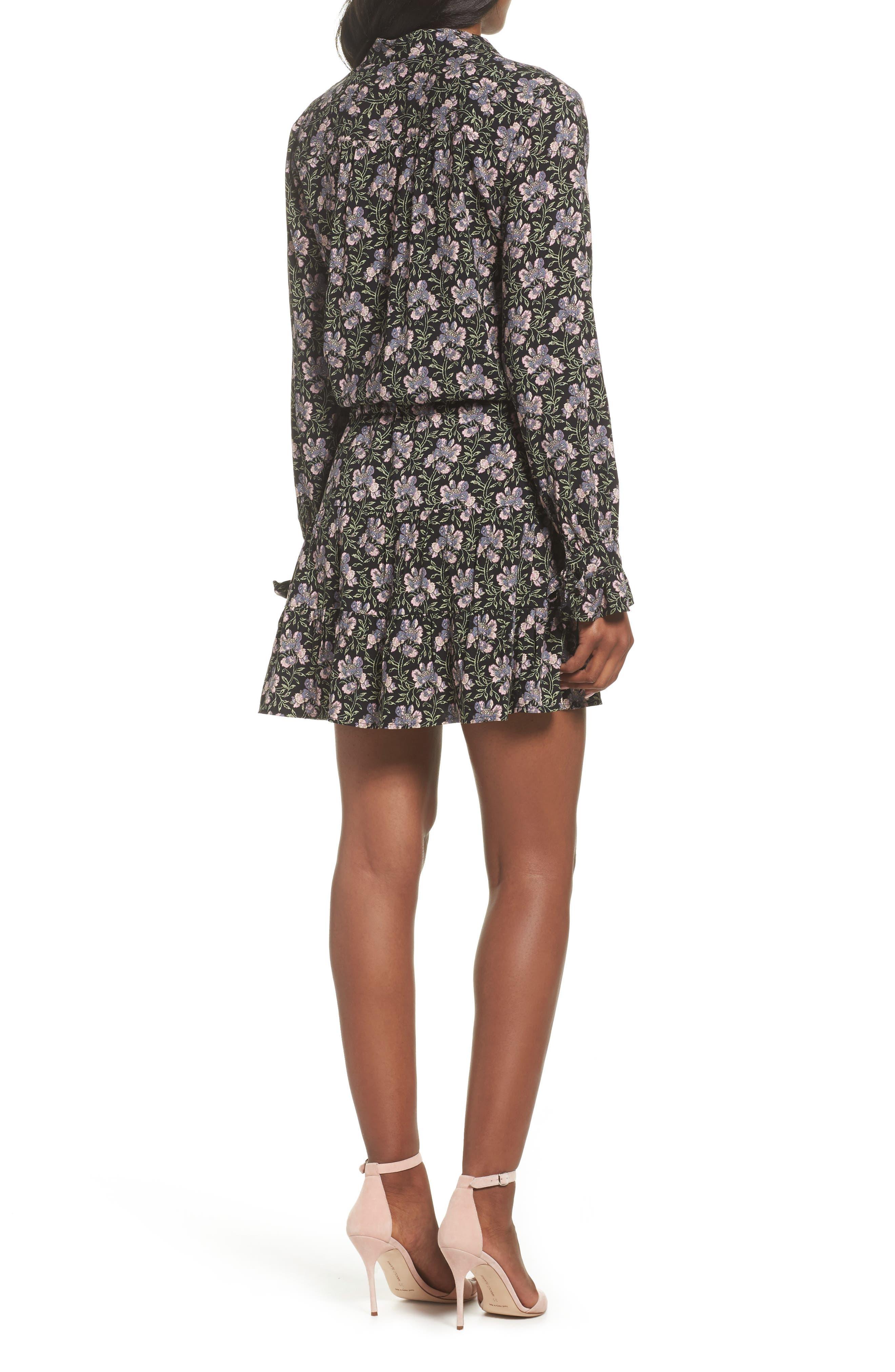 Denisa Floral Tie Cuff Minidress,                             Alternate thumbnail 2, color,                             STORM CLOUD MULTI