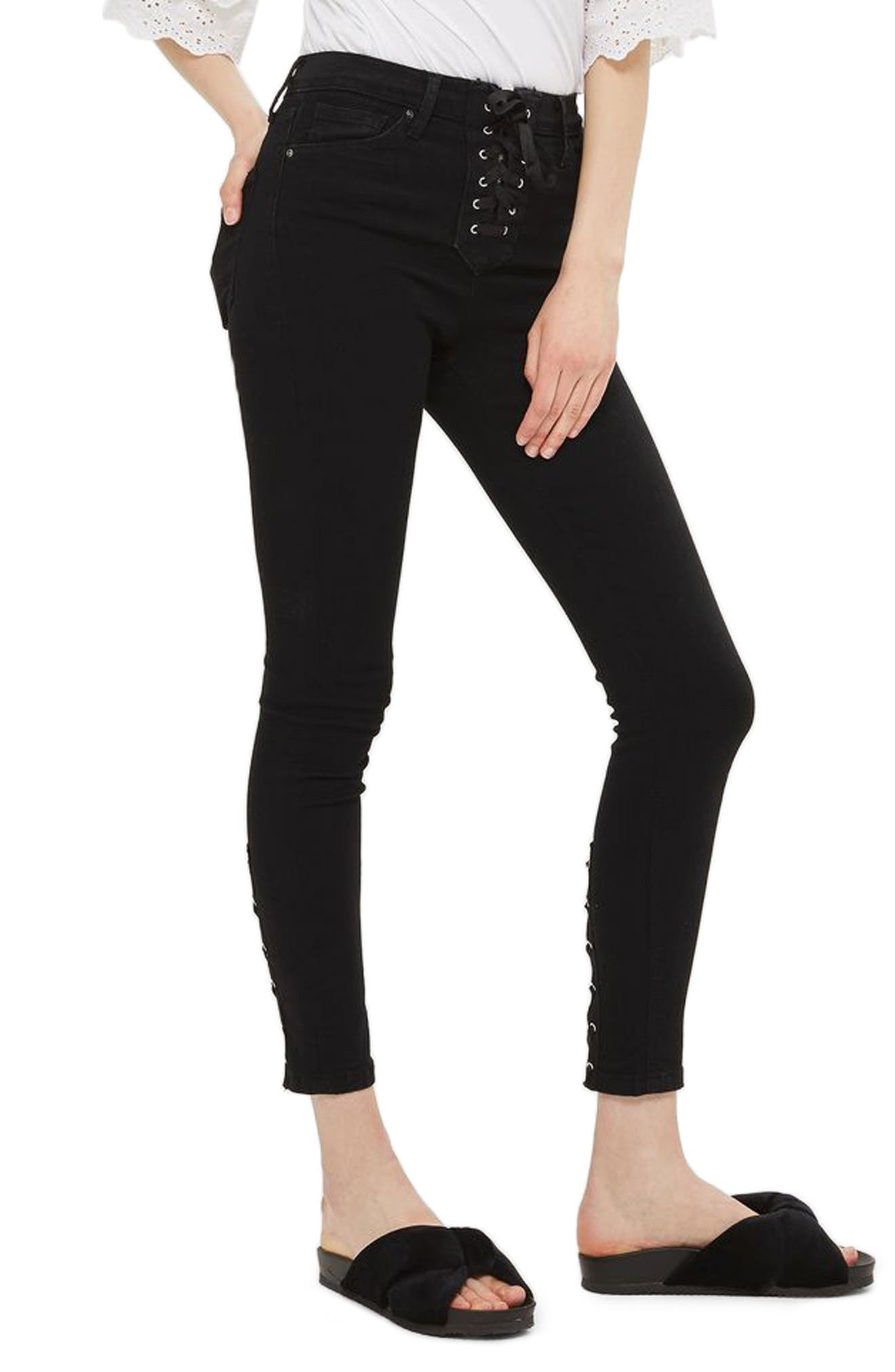 Jamie Lace-Up Fly Skinny Jeans,                             Main thumbnail 1, color,                             001