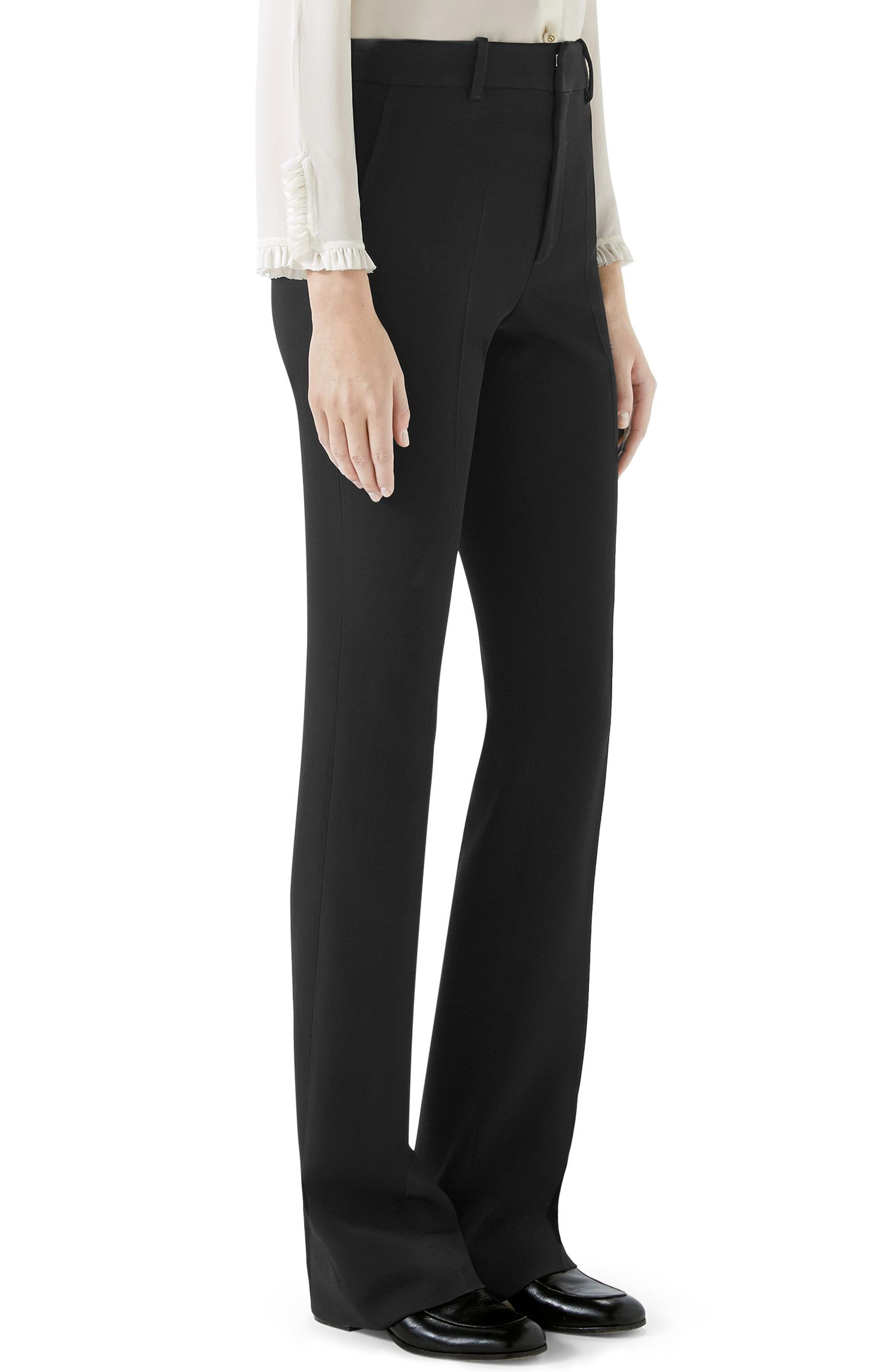Stretch Cady Skinny Flare Pants,                             Alternate thumbnail 4, color,                             BLACK
