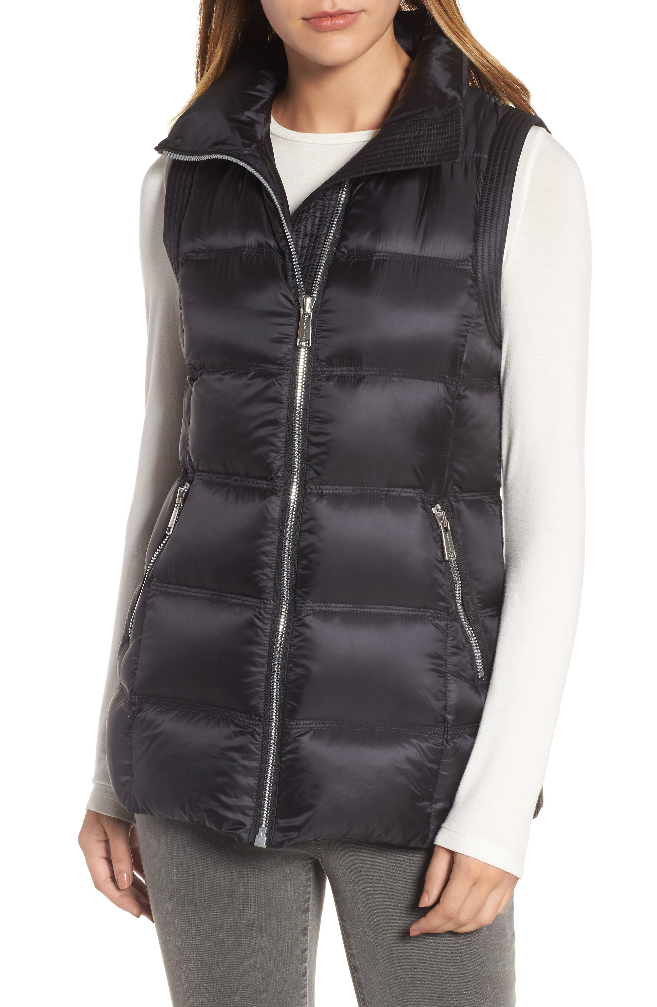 Claire 28 Water Resistant Hooded Down Vest with Genuine Fox Fur Trim,                             Alternate thumbnail 4, color,                             001