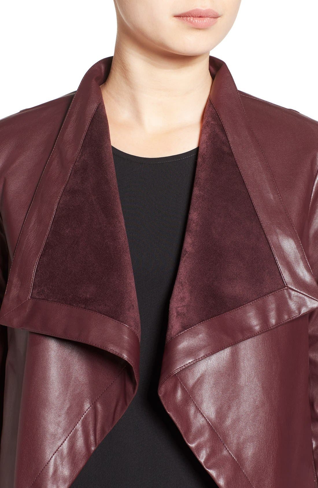 'Peppin' Drape Front Faux Leather Jacket,                             Alternate thumbnail 35, color,