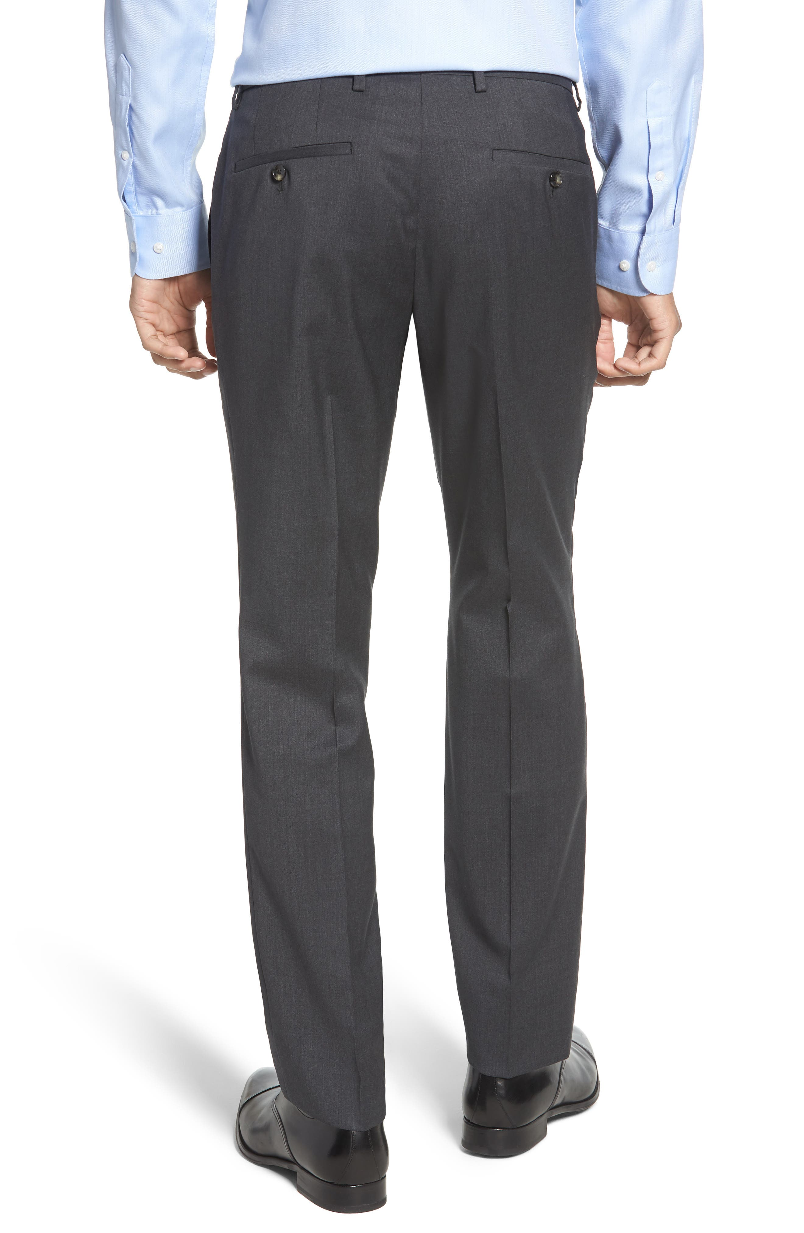 Leenon Flat Front Regular Fit Solid Wool Trousers,                             Alternate thumbnail 2, color,                             CHARCOAL