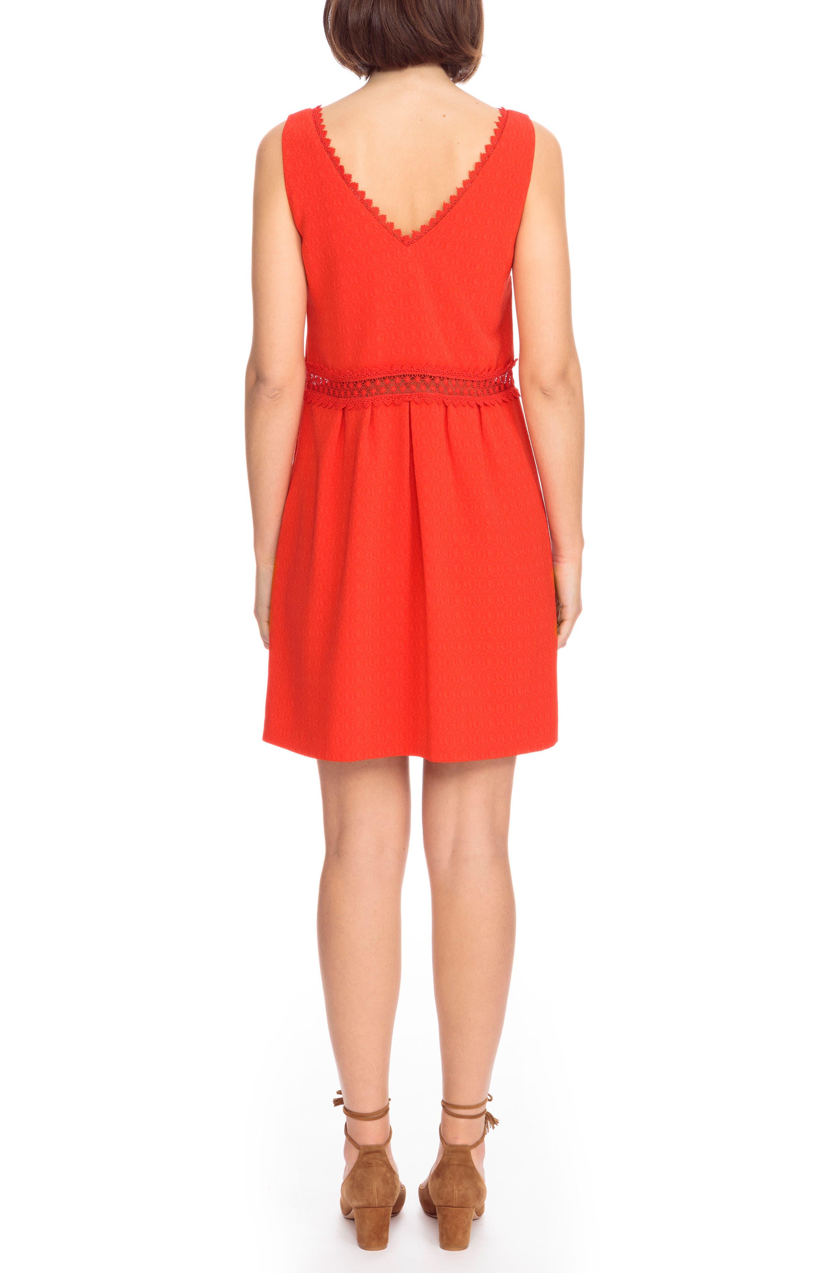 Daniela Lace Trim A-Line Dress,                             Alternate thumbnail 2, color,