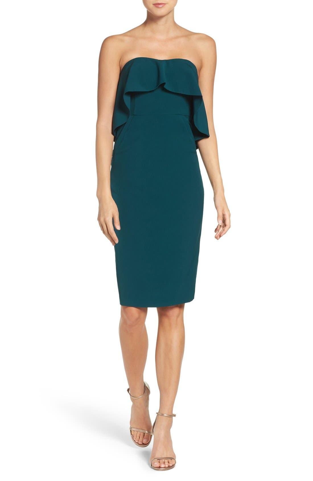 Ruffle Stretch Crepe Sheath Dress,                             Alternate thumbnail 23, color,