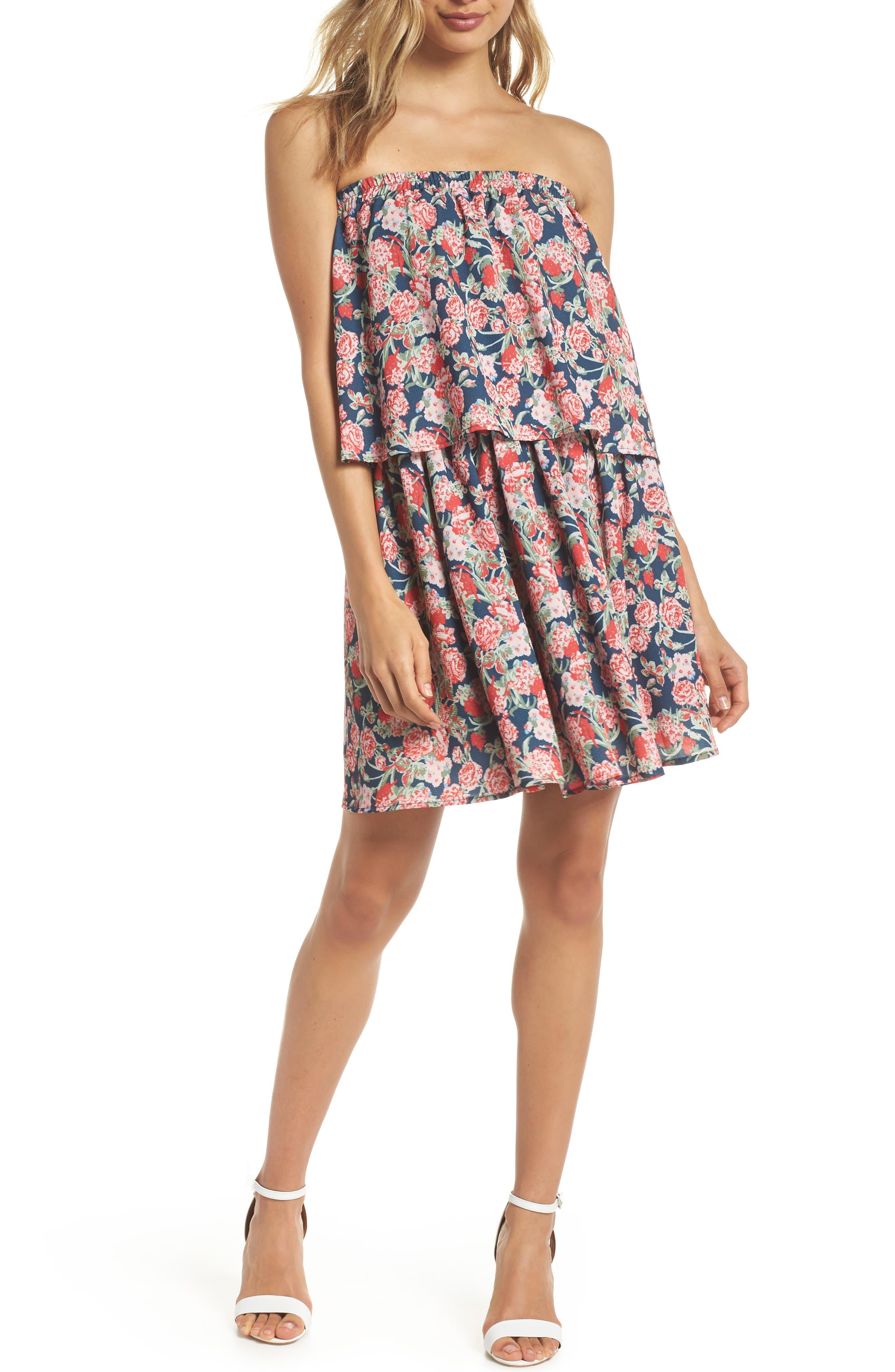 Print Strapless Popover Dress,                         Main,                         color,
