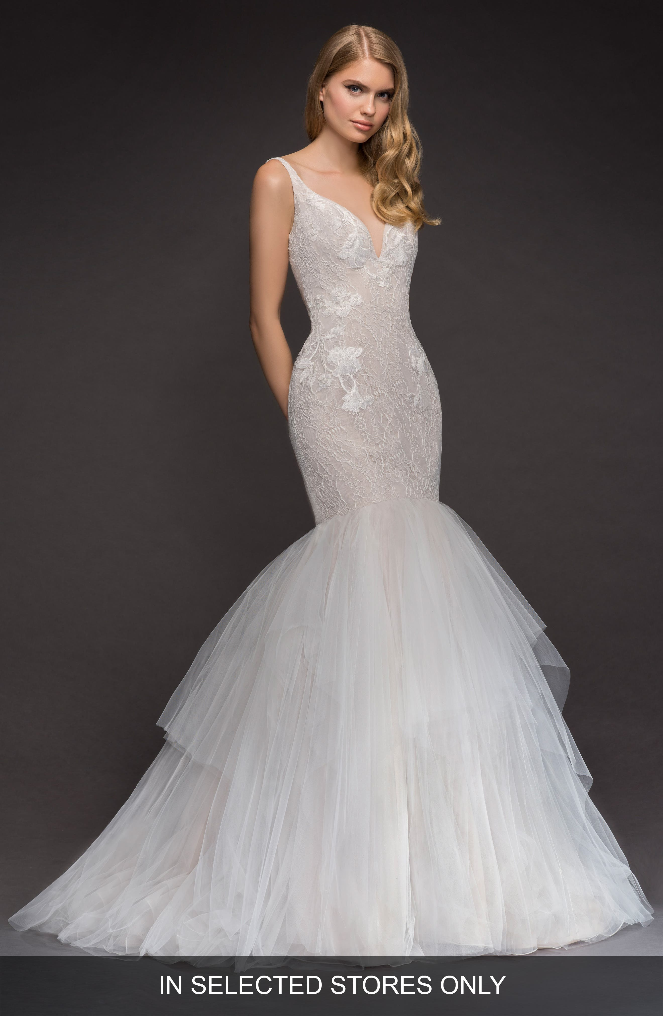 Fern Lace & Tulle Mermaid Gown,                             Main thumbnail 1, color,                             IVORY