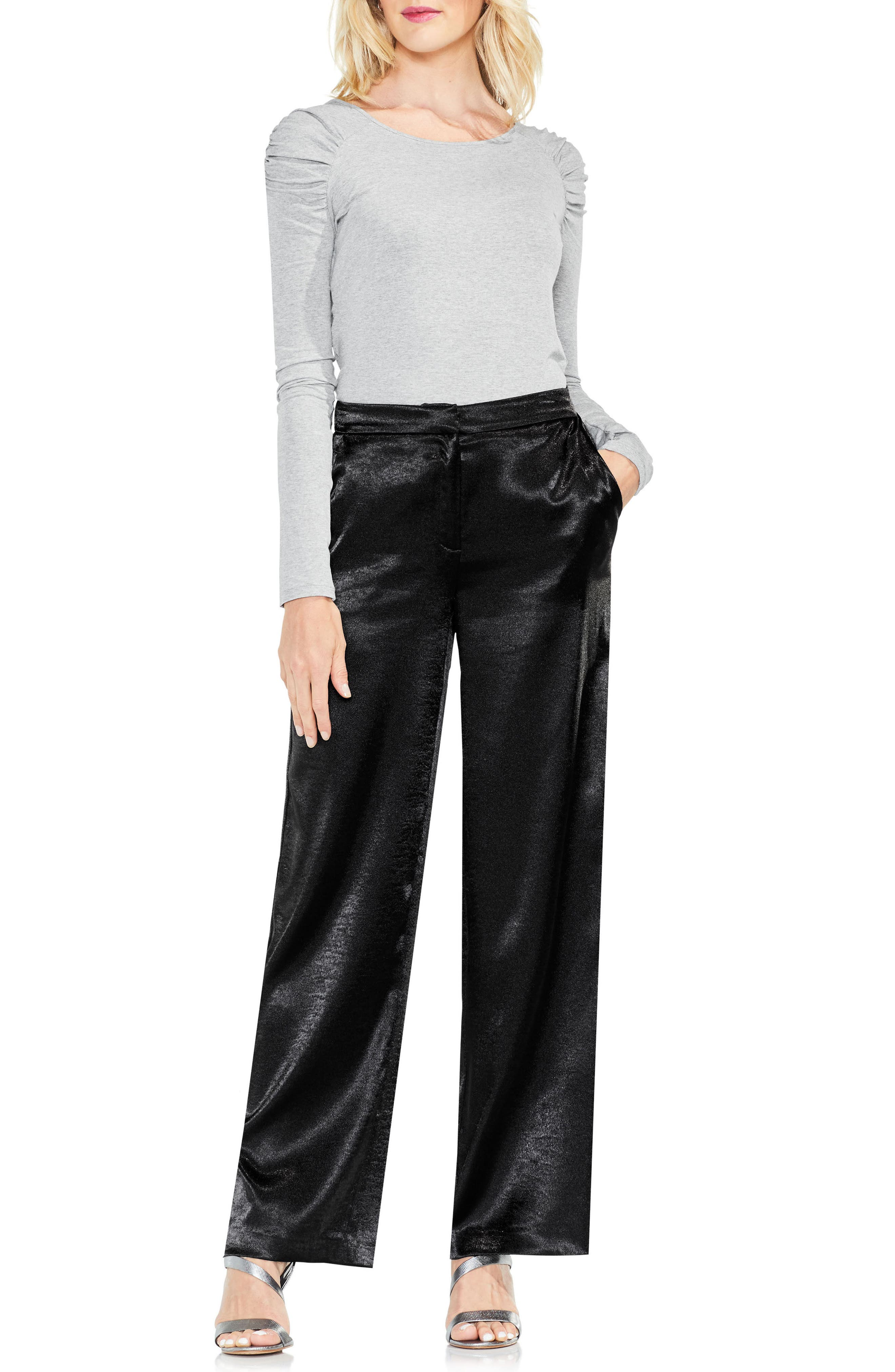 Wide Leg Hammered Satin Pants,                             Alternate thumbnail 3, color,                             006