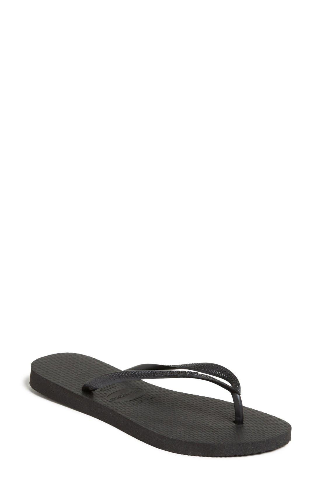 HAVAIANAS Women'S Slim Metallic Flip Flops Women'S Shoes in Black