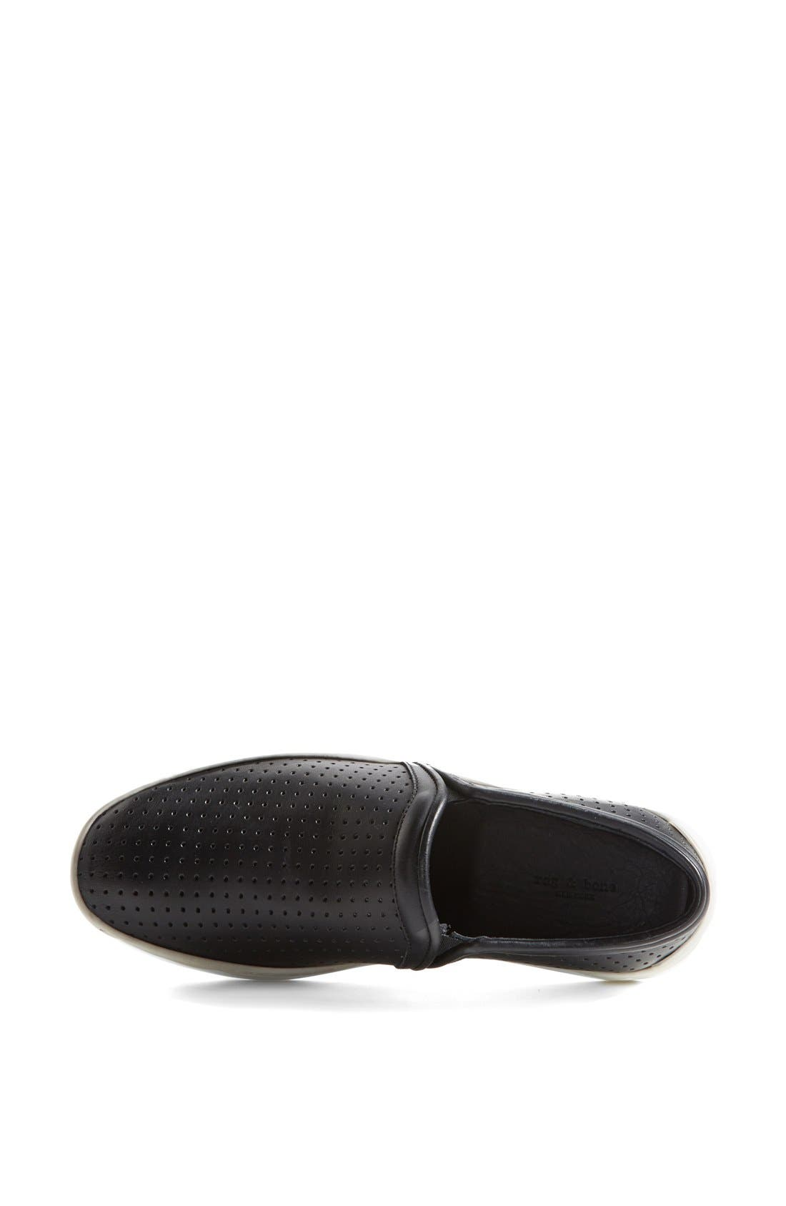 'Kent' Perforated Leather Slip-On,                             Alternate thumbnail 2, color,                             001