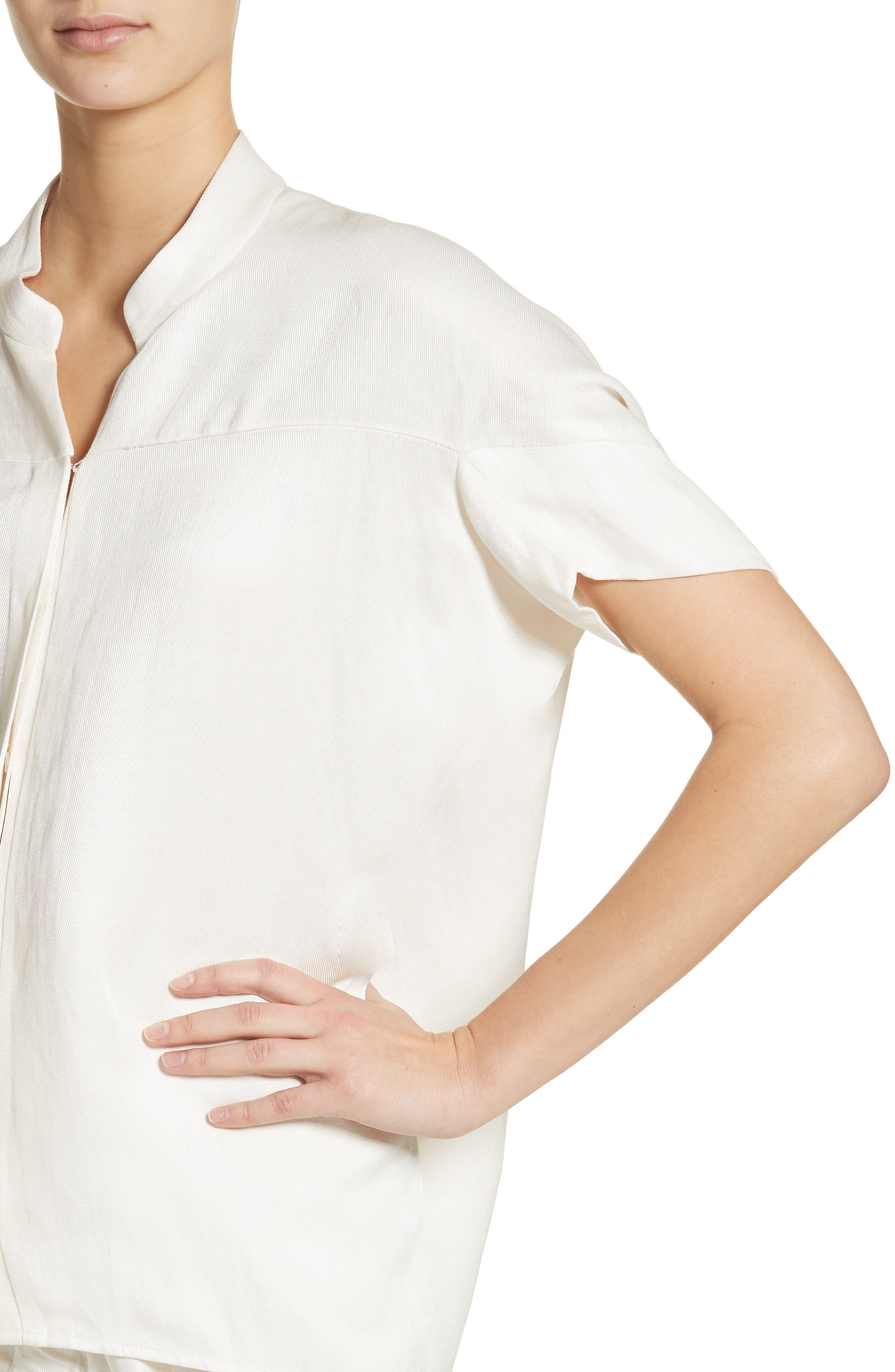 Concave Drape Shirt,                             Alternate thumbnail 4, color,                             100