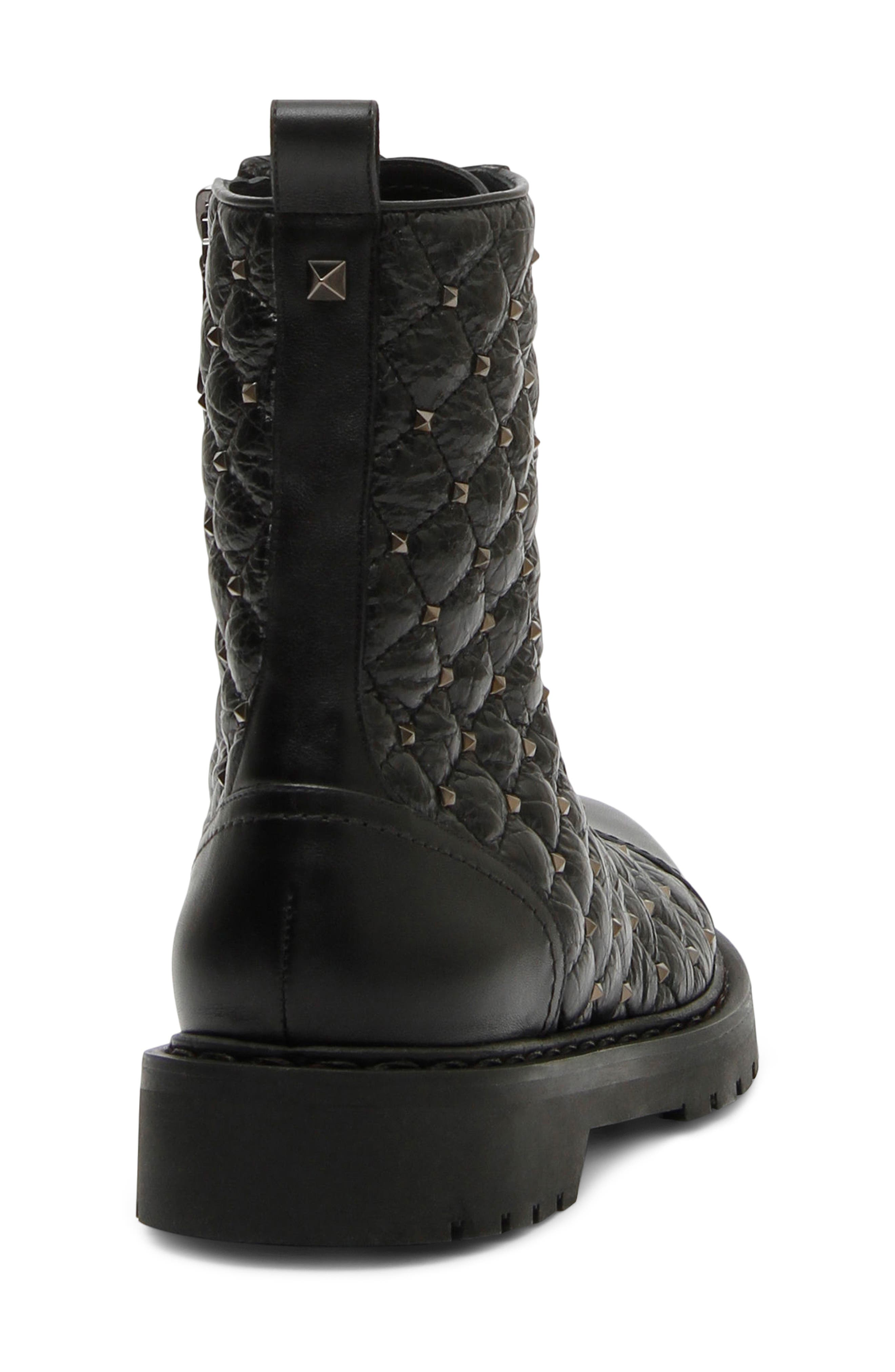 VALENTINO GARAVANI,                             Rockstud Quilted Combat Boot,                             Alternate thumbnail 2, color,                             BLACK