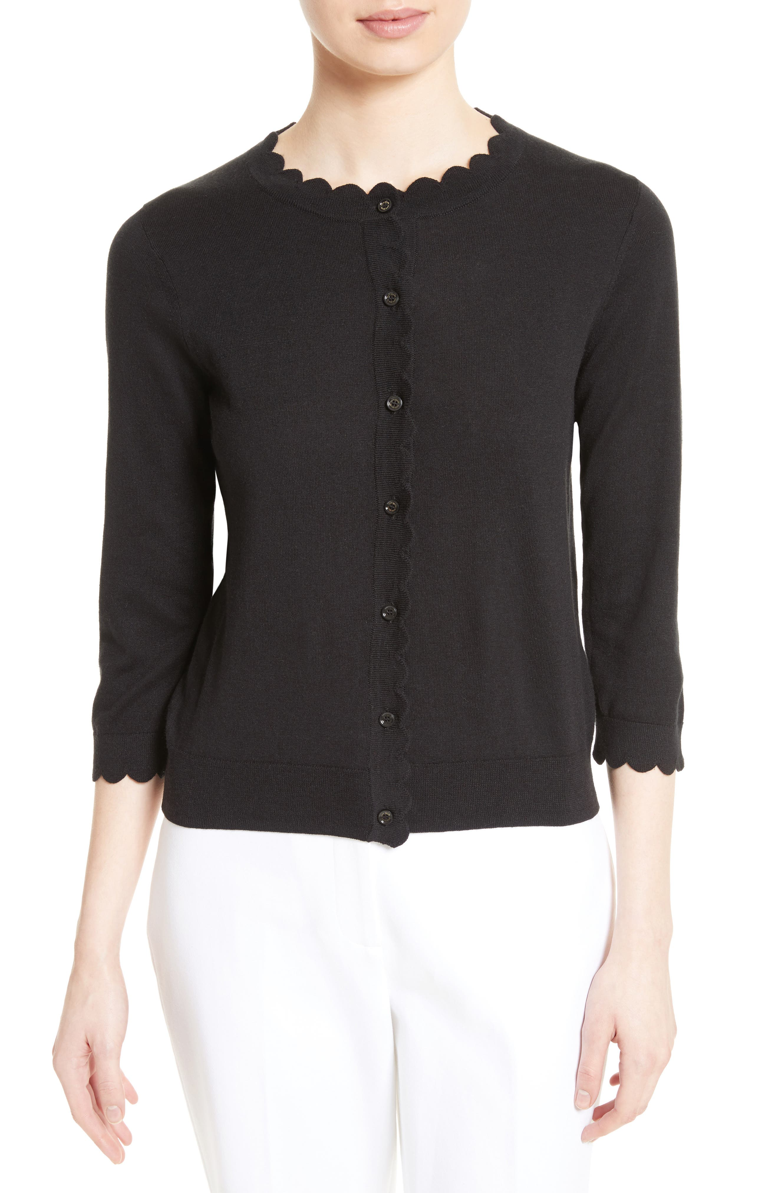 scallop silk blend cardigan,                         Main,                         color, BLACK