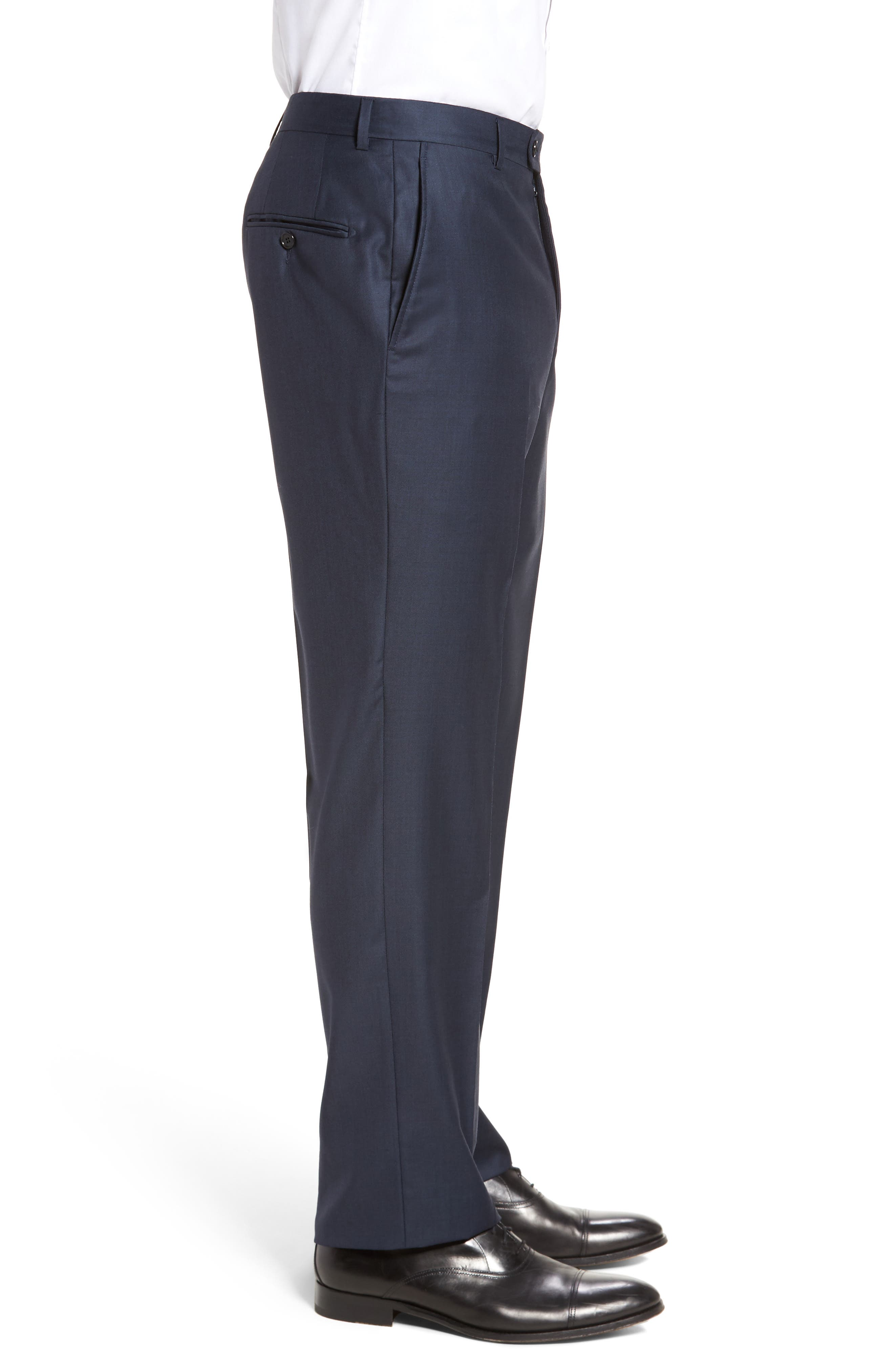 Classic B Fit Flat Front Solid Wool Trousers,                             Alternate thumbnail 4, color,                             NAVY SHARKSKIN