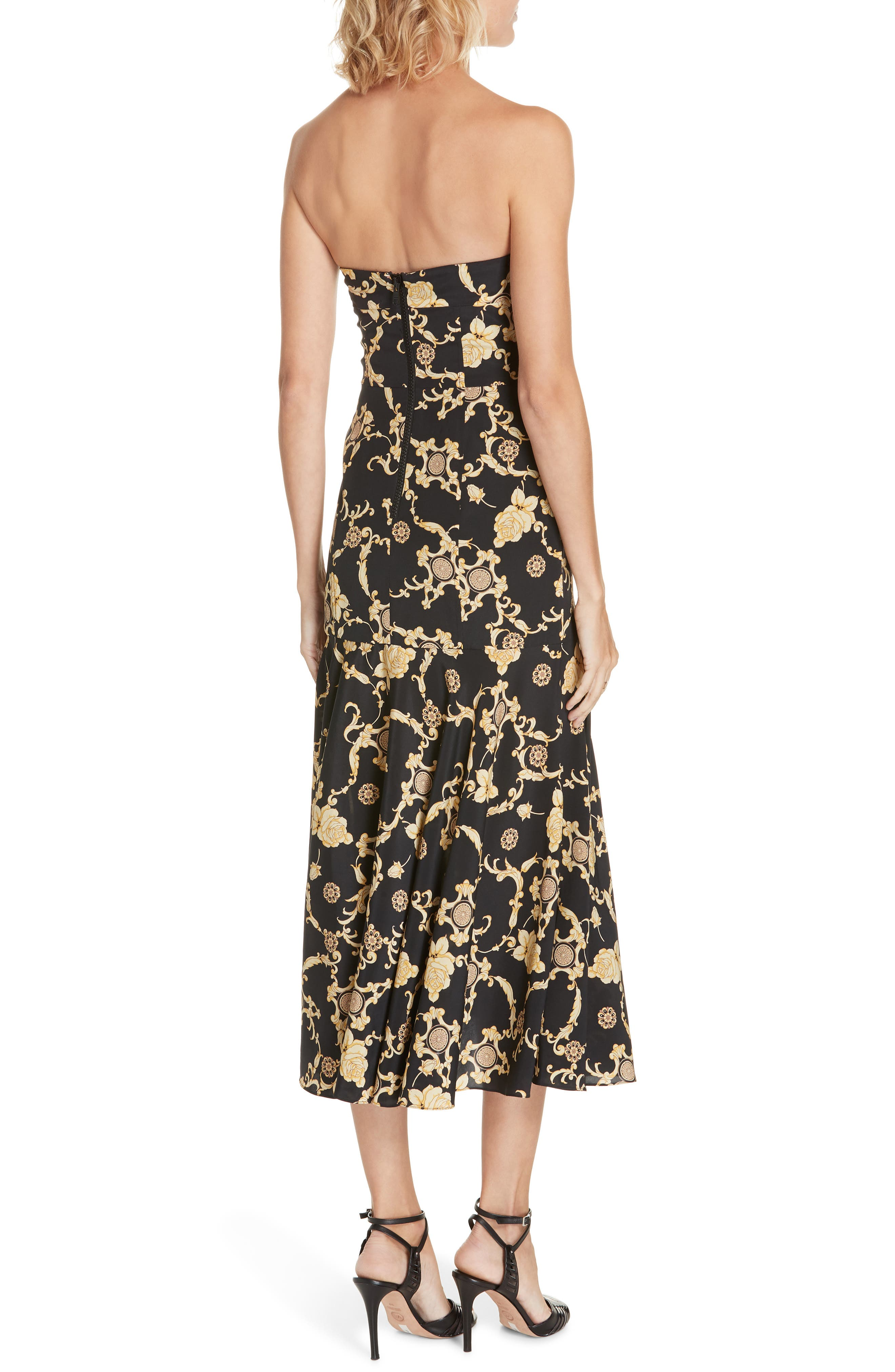 Annika Floral Print Strapless Stretch Silk Dress,                             Alternate thumbnail 2, color,                             BLACK/ GOLD
