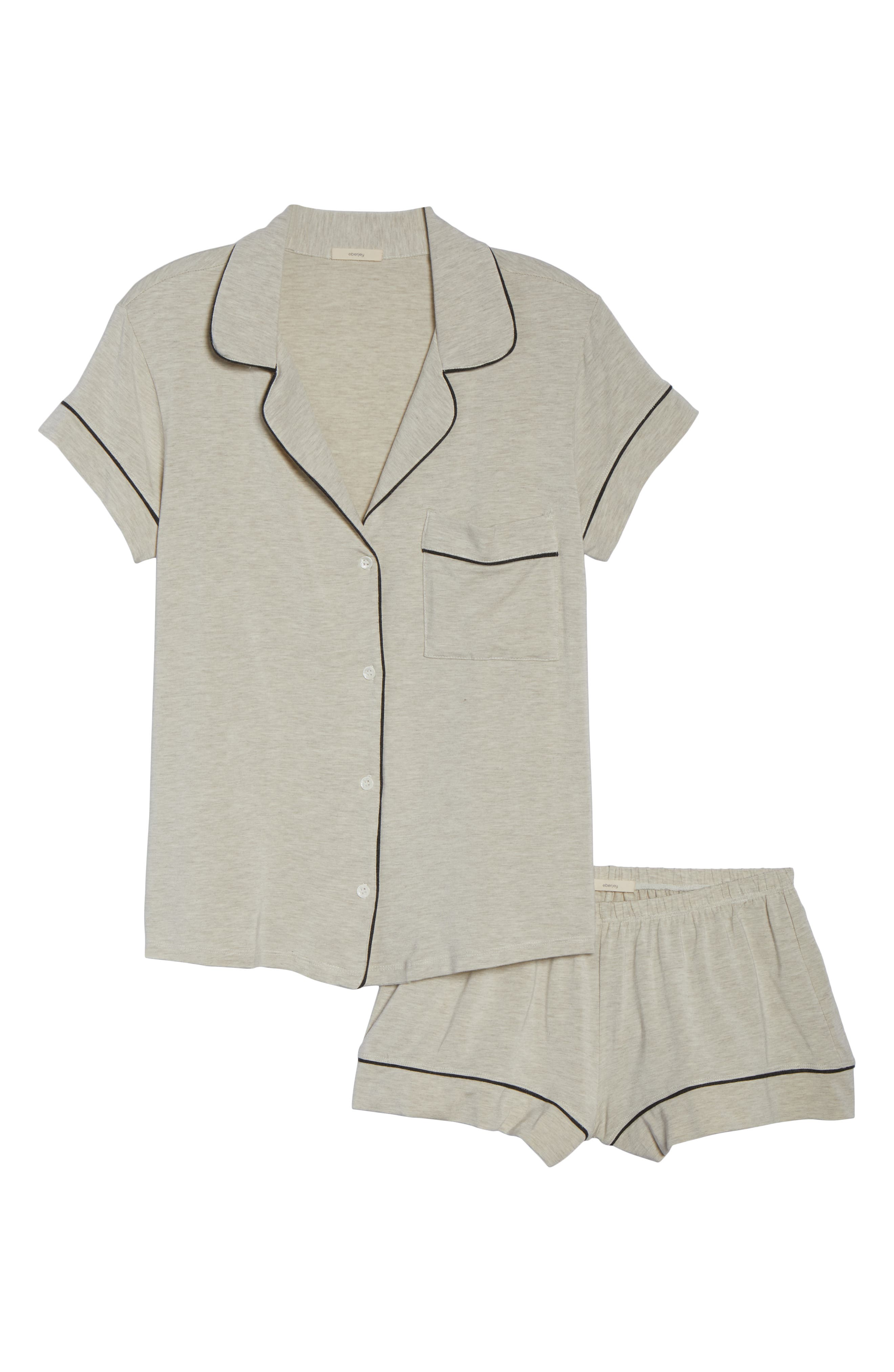 'Gisele' Shorty Pajamas,                             Alternate thumbnail 6, color,                             OATMEAL HEATHER/ CHARCOAL