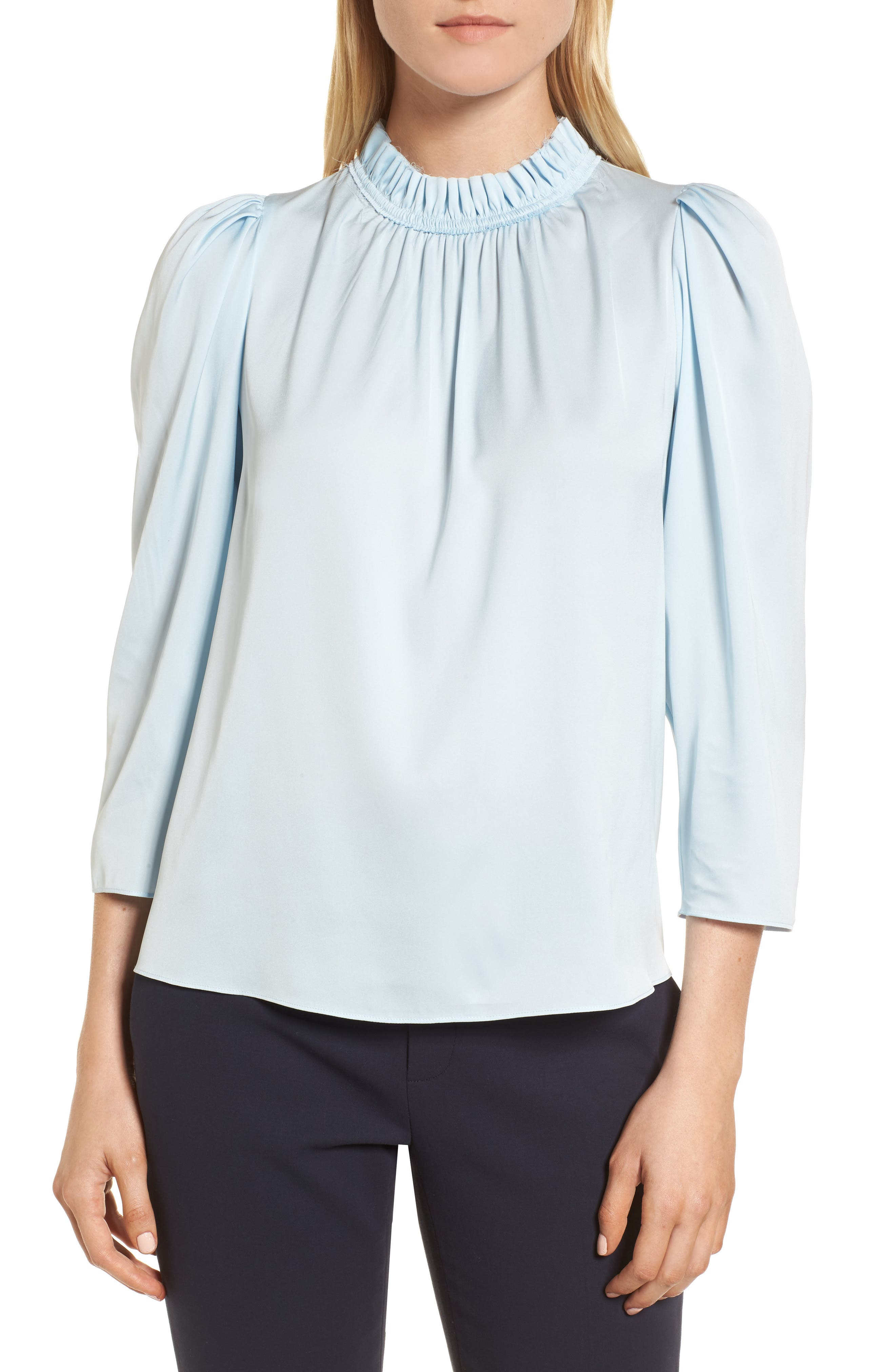 Ruffle Neck Stretch Silk Top,                             Main thumbnail 1, color,
