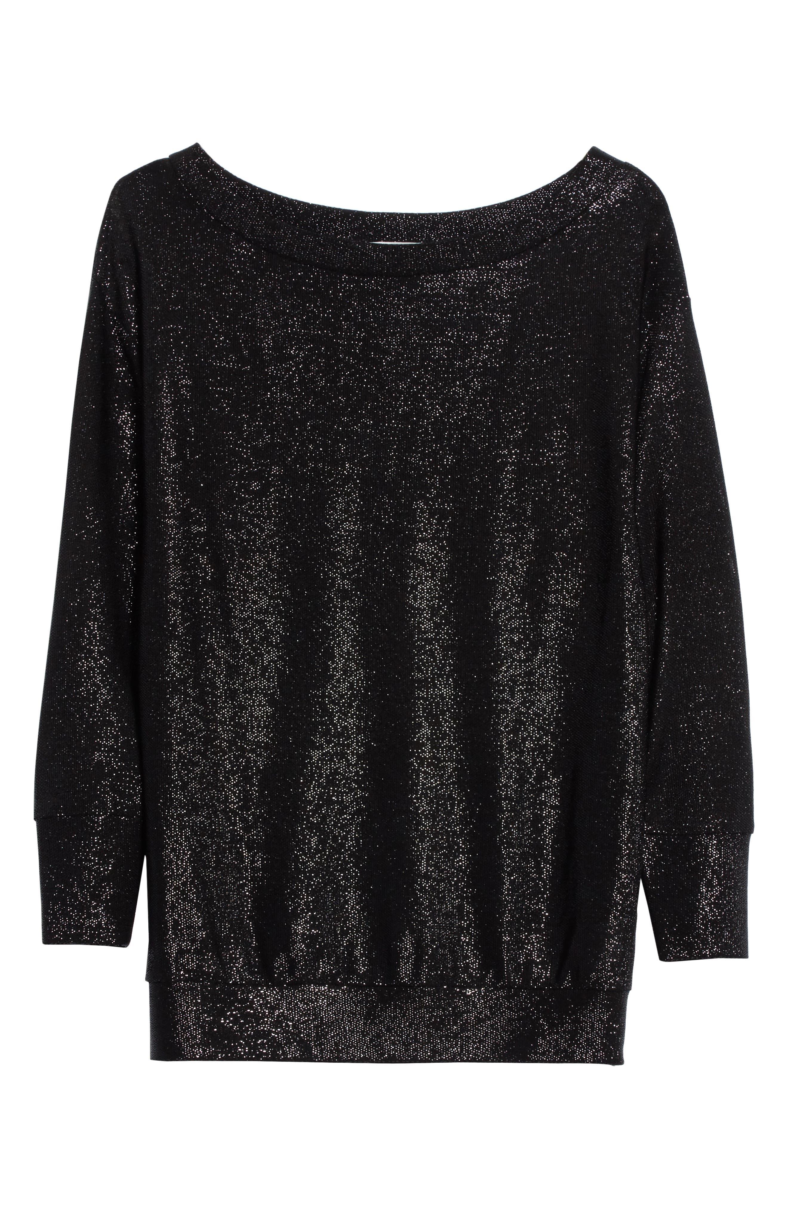 Bateau Neck Shimmer Sweatshirt,                             Alternate thumbnail 6, color,