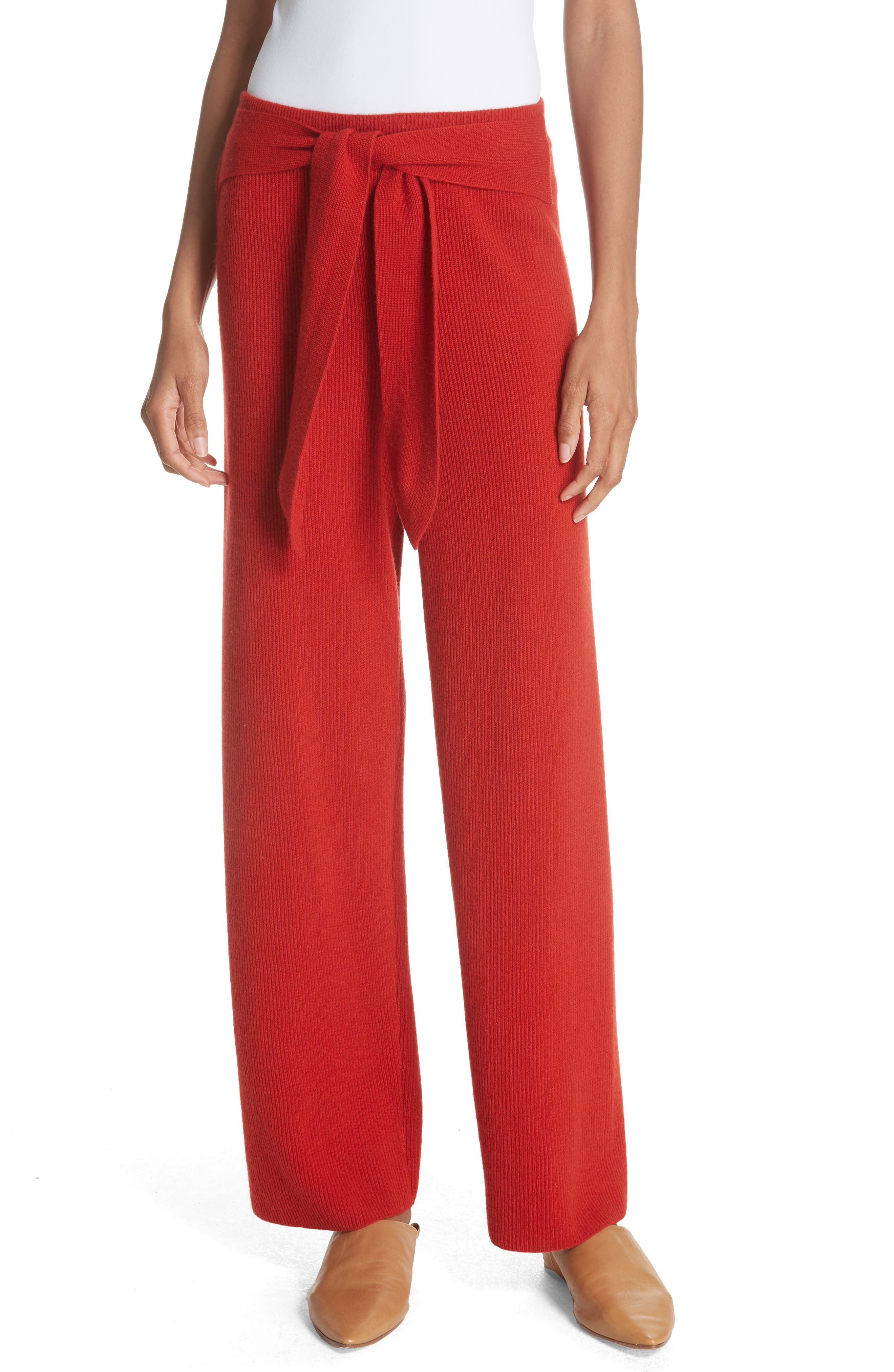 Tigre Merino Wool & Cashmere Blend Pants,                         Main,                         color, RED