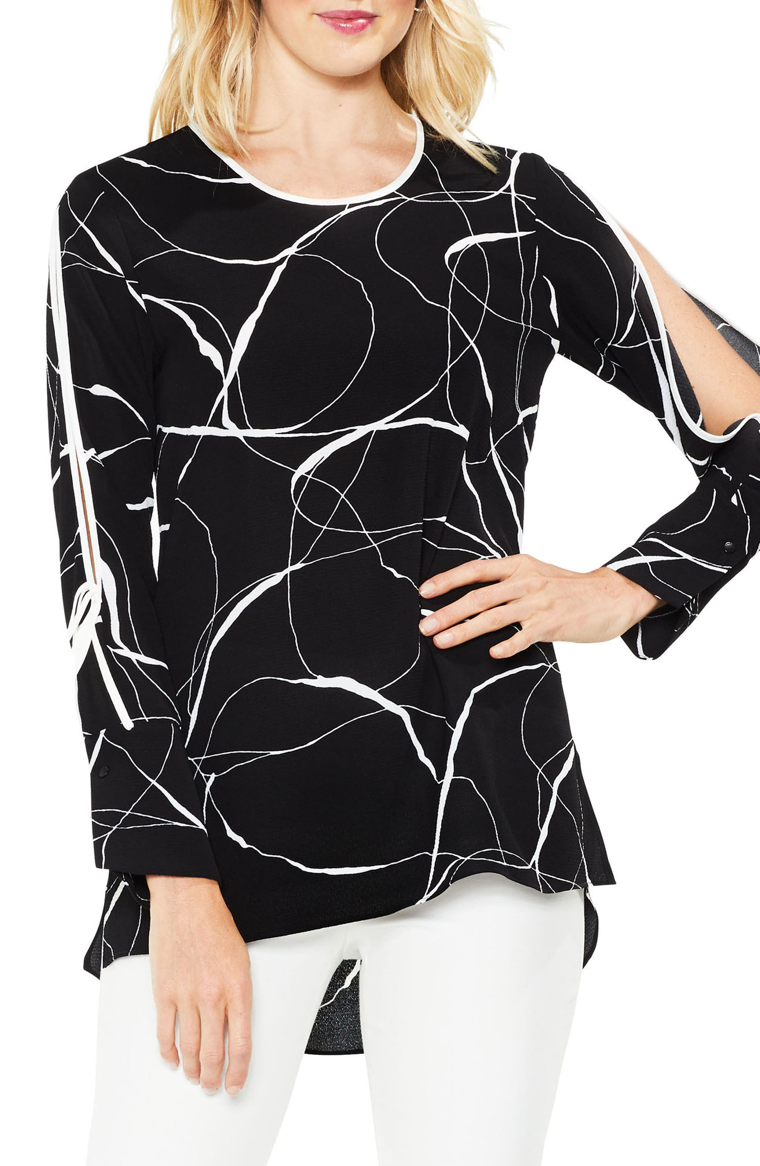 Ink Split Sleeve Blouse,                             Main thumbnail 1, color,                             006