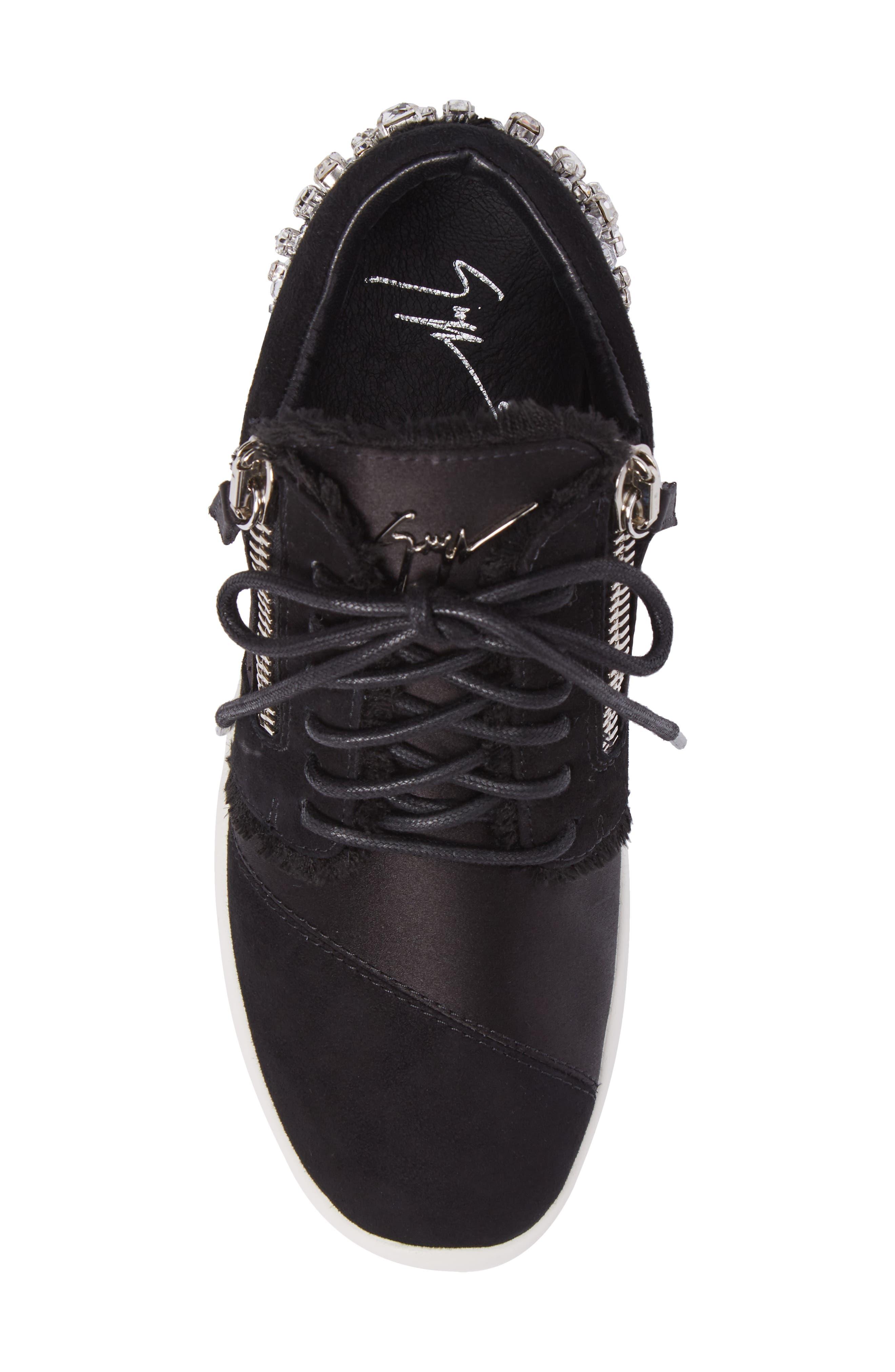 GIUSEPPE ZANOTTI,                             Swarovski Crystal Embellished Sneaker,                             Alternate thumbnail 5, color,                             001