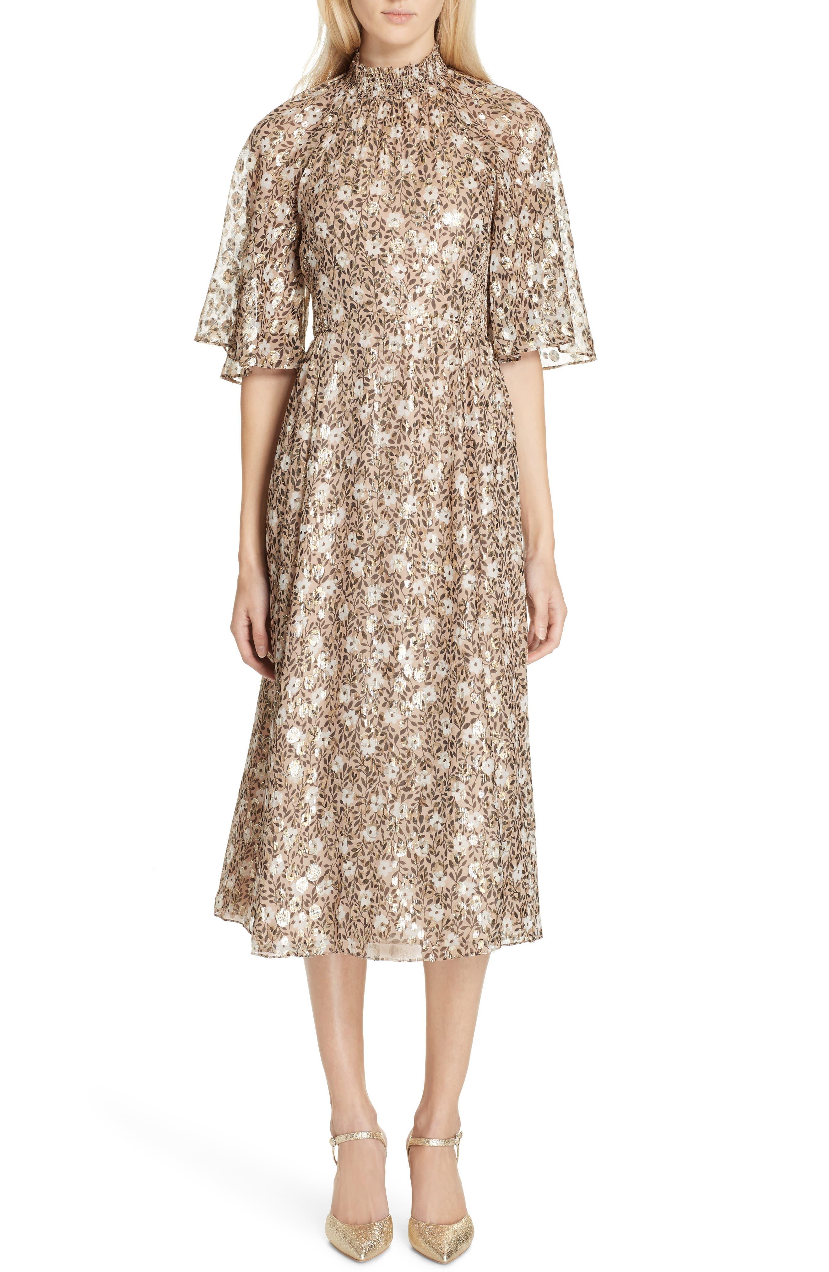 Kate Spade New York Floral Park Metallic Detail Silk Blend Midi Dress