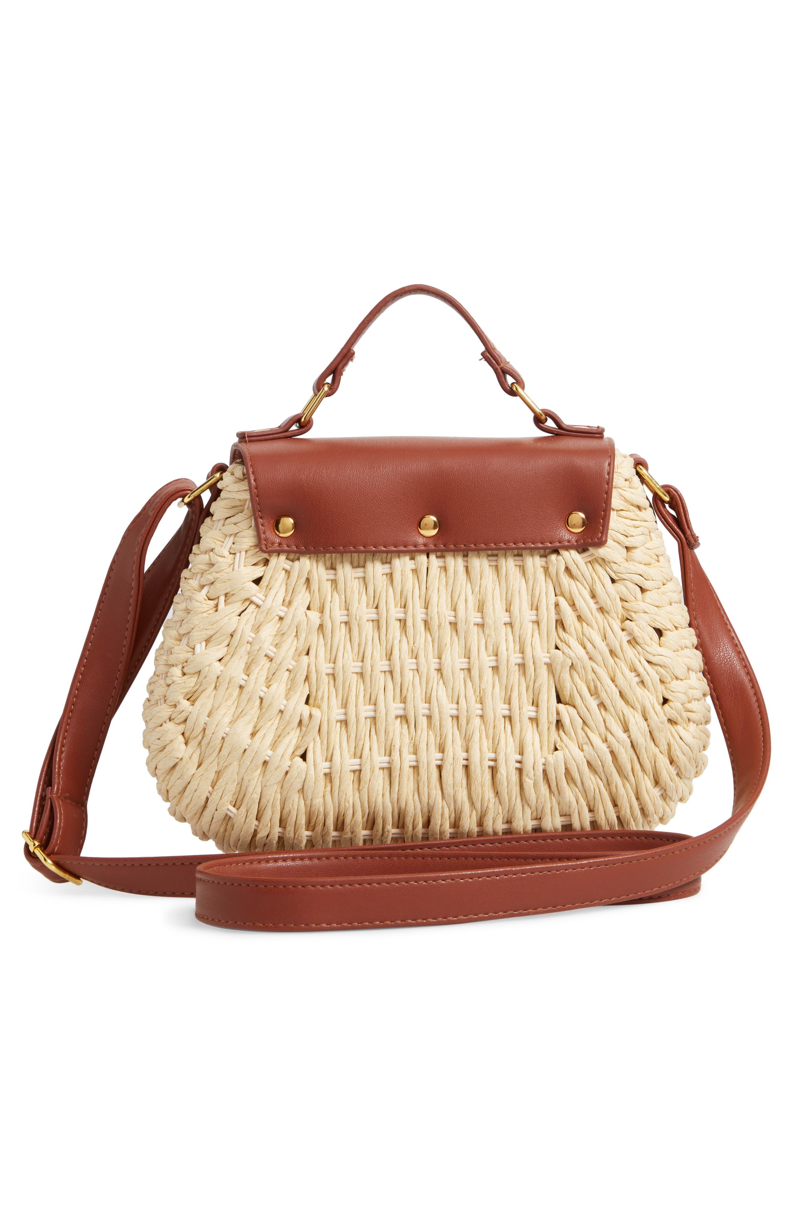 Faux Leather Trim Straw Saddle Bag,                             Alternate thumbnail 3, color,                             NATURAL/ COGNAC